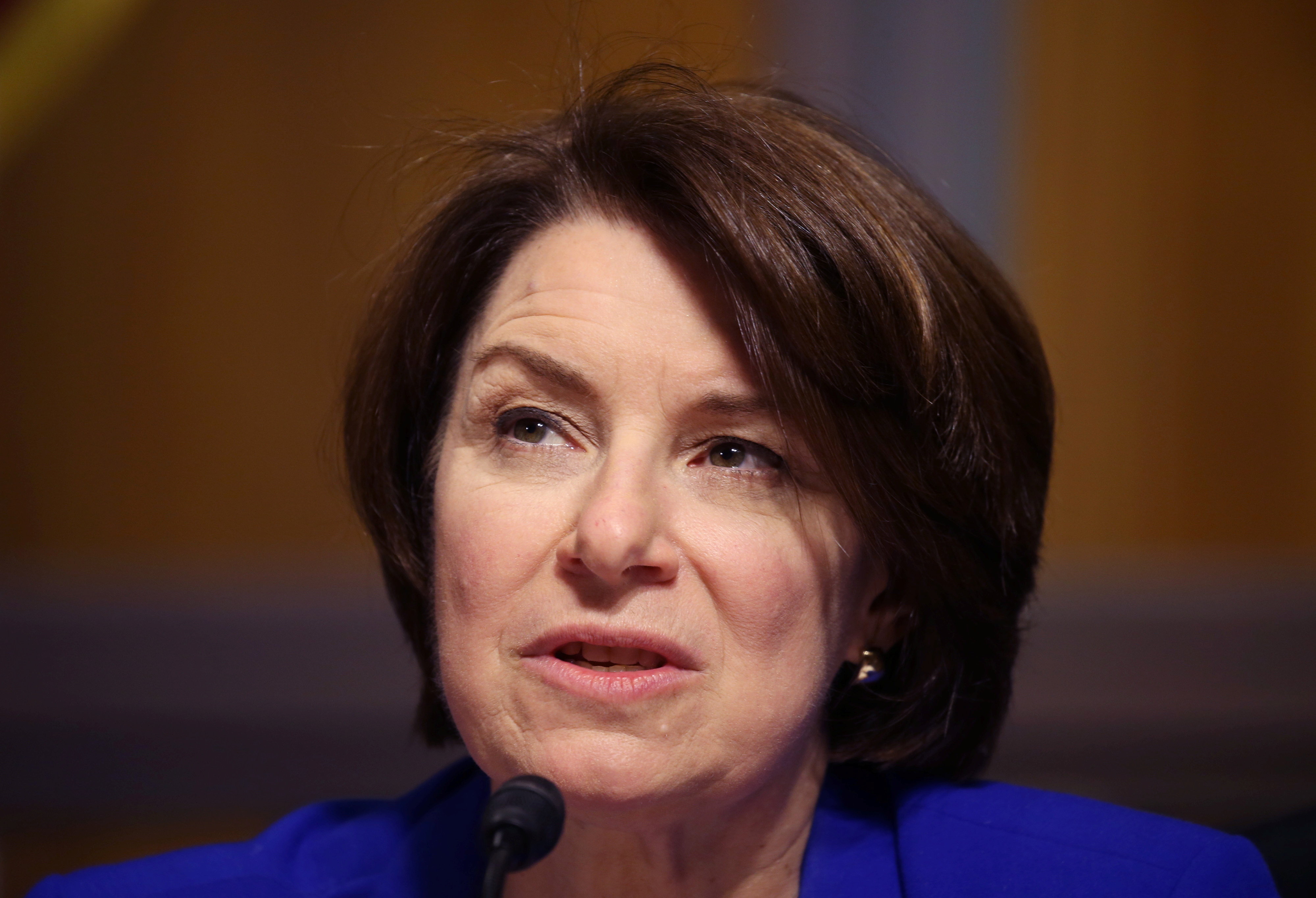 Sen. Amy Klobuchar, D-MN, asks questions during a hearing of the Senate Judiciary Subcommittee on Privacy, Technology, and the Law, at the U.S. Capitol in Washington DC, U.S., April 27, 2021. Tasos Katopodis/Pool via REUTERS