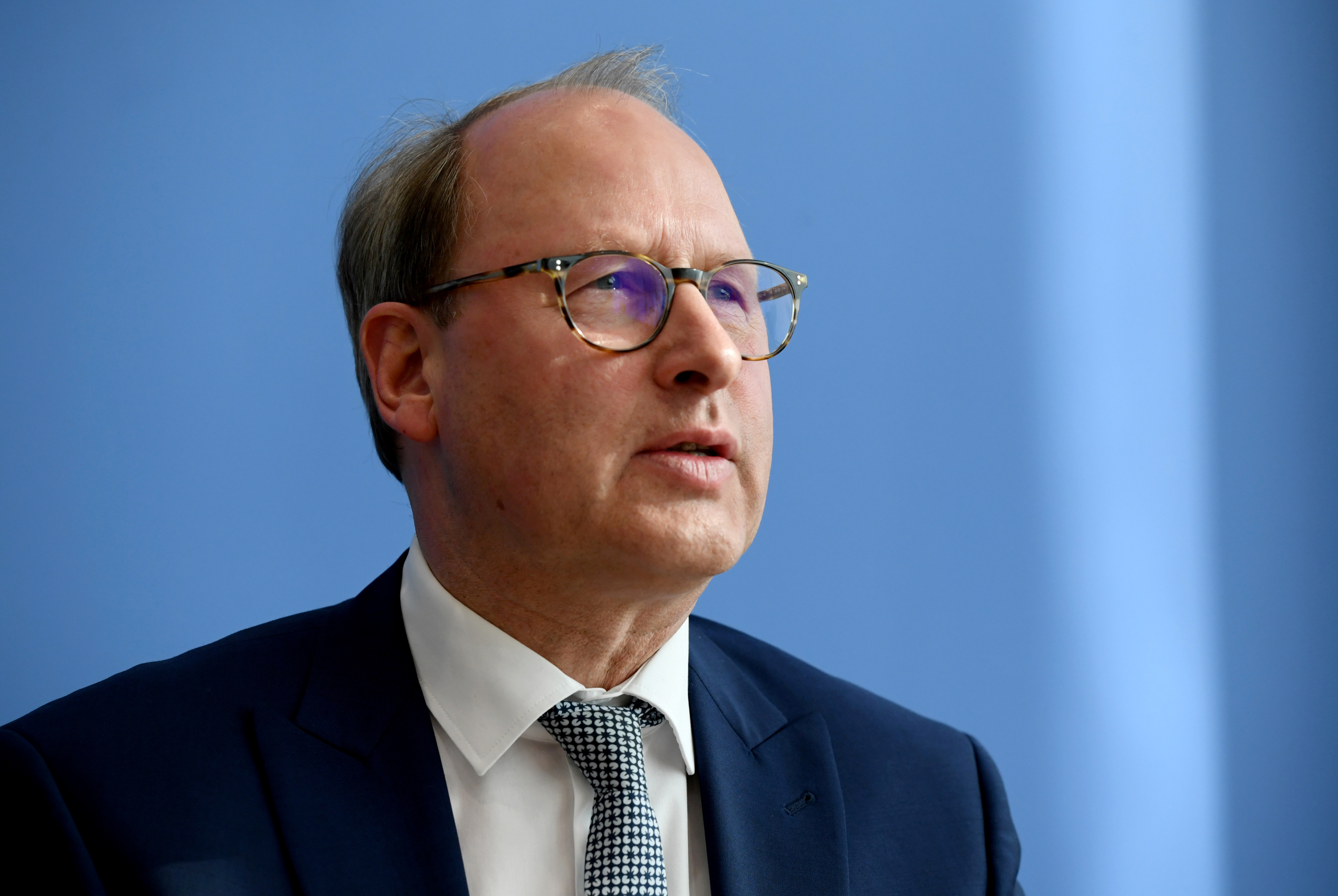 Managing Director of the Handelsverband Deutschland Stefan Genthr attends a news conference addressing the impact on supplies due to the coronavirus disease (COVID-19), in Berlin, Germany, March 17, 2020.  REUTERS/Annegret Hilse/Pool/File Photo
