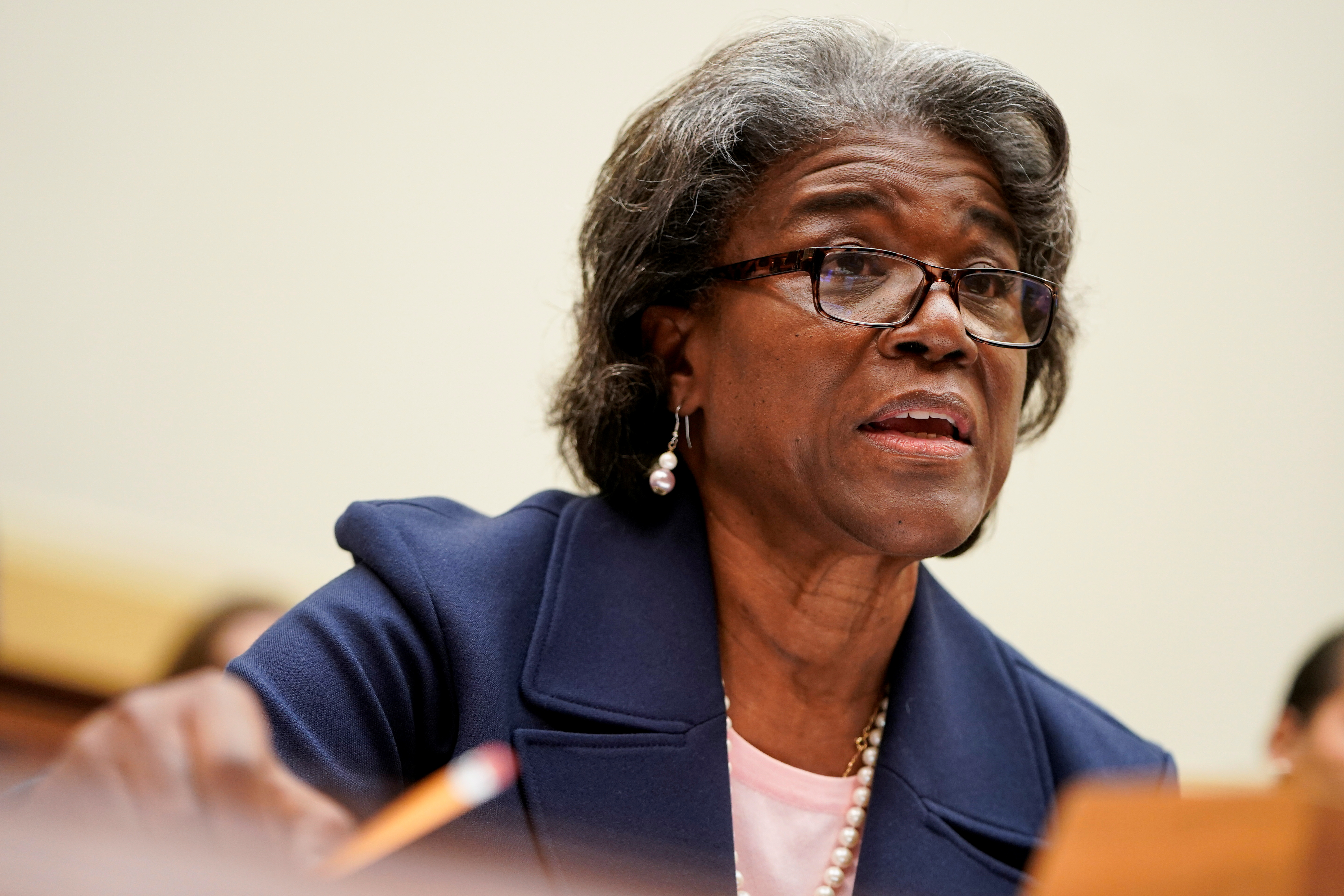 U.S. Ambassador to the United Nations Linda Thomas-Greenfield testifies to the House Foreign Affairs Committee on the Biden Administration's priorities for engagement with the United Nations on Capitol Hill in Washington, U.S., June 16, 2021.      REUTERS/Joshua Roberts