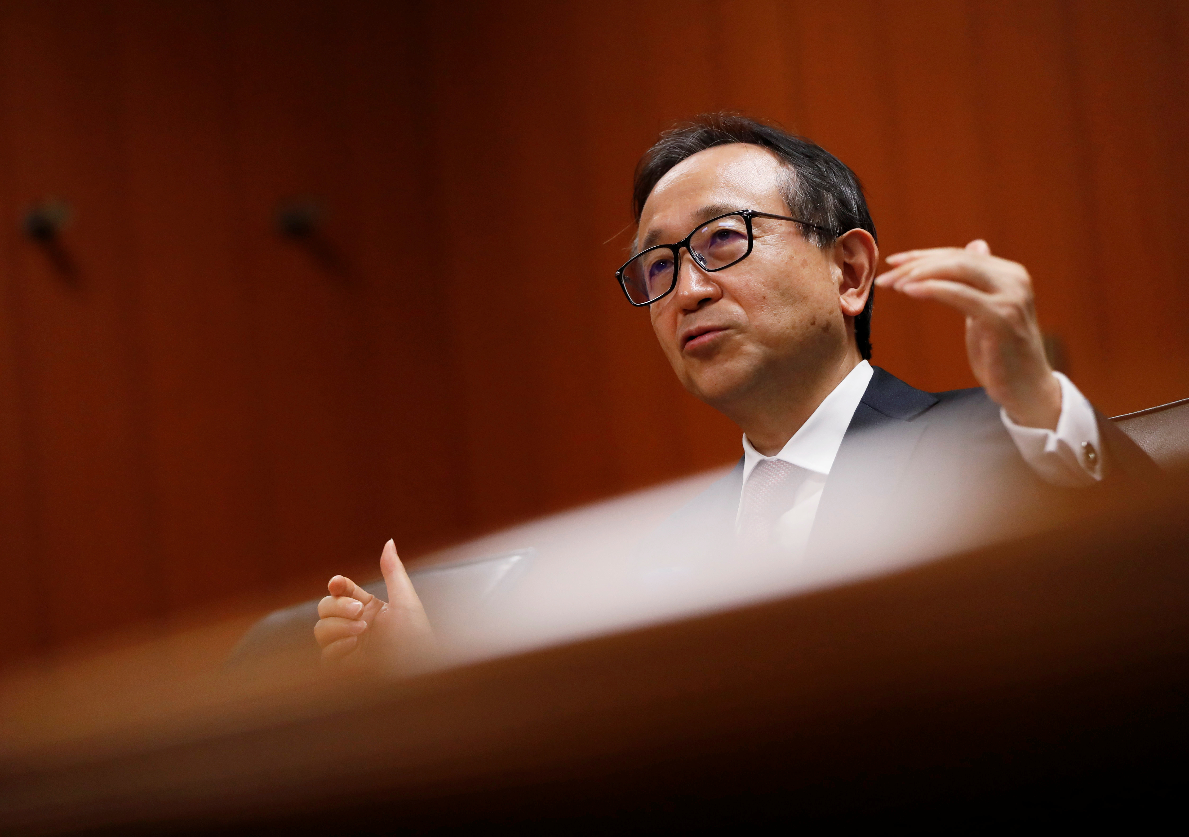 Mitsubishi UFJ Financial Group, Inc. (MUFG) President and Group CEO Hironori Kamezawa speaks during an interview with Reuters in Tokyo, Japan July 9, 2020. Picture taken July 9, 2020. REUTERS/Issei Kato