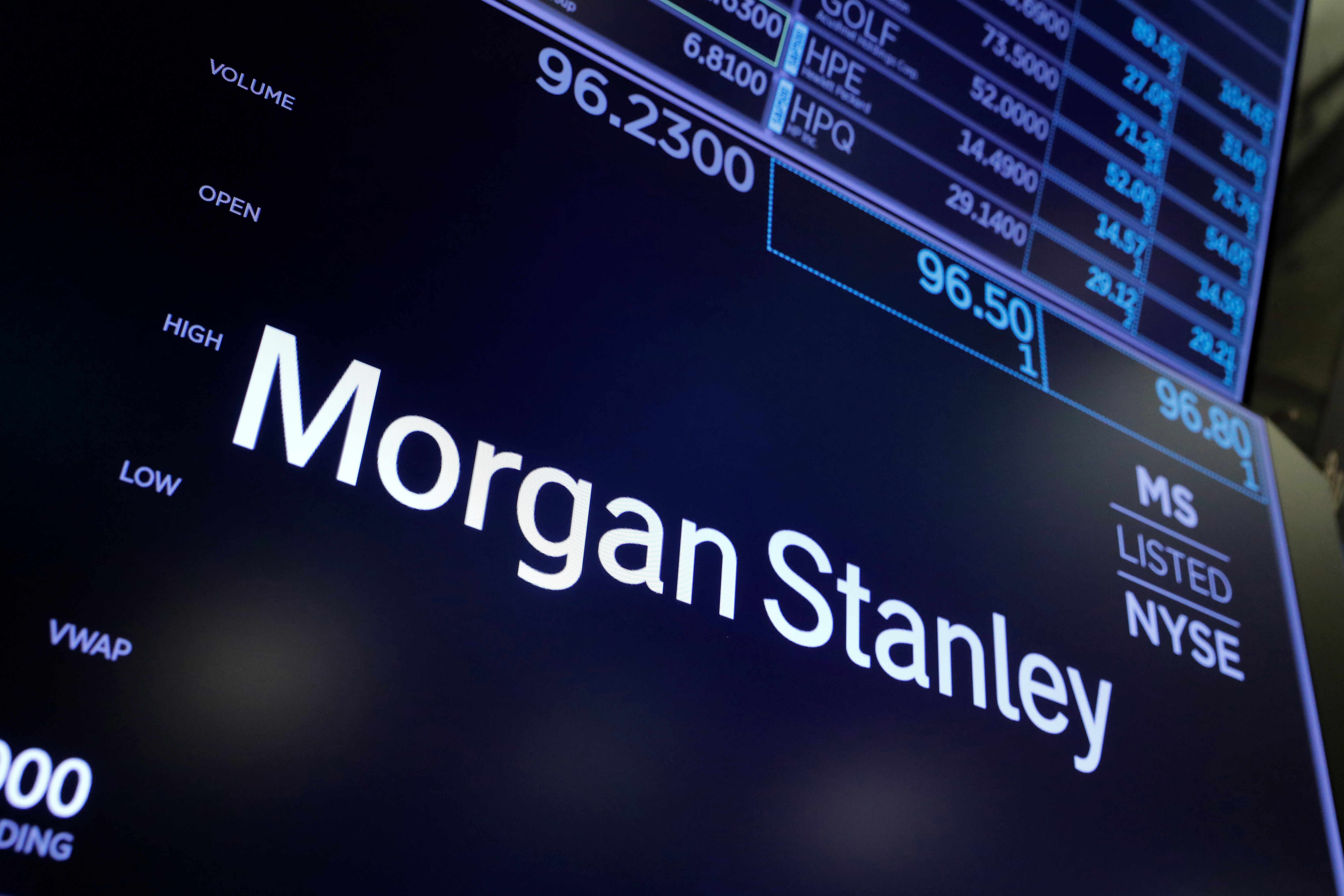 The Morgan Stanley logo is seen on the trading floor at the New York Stock Exchange (NYSE) in Manhattan, New York City, U.S. REUTERS/Andrew Kelly