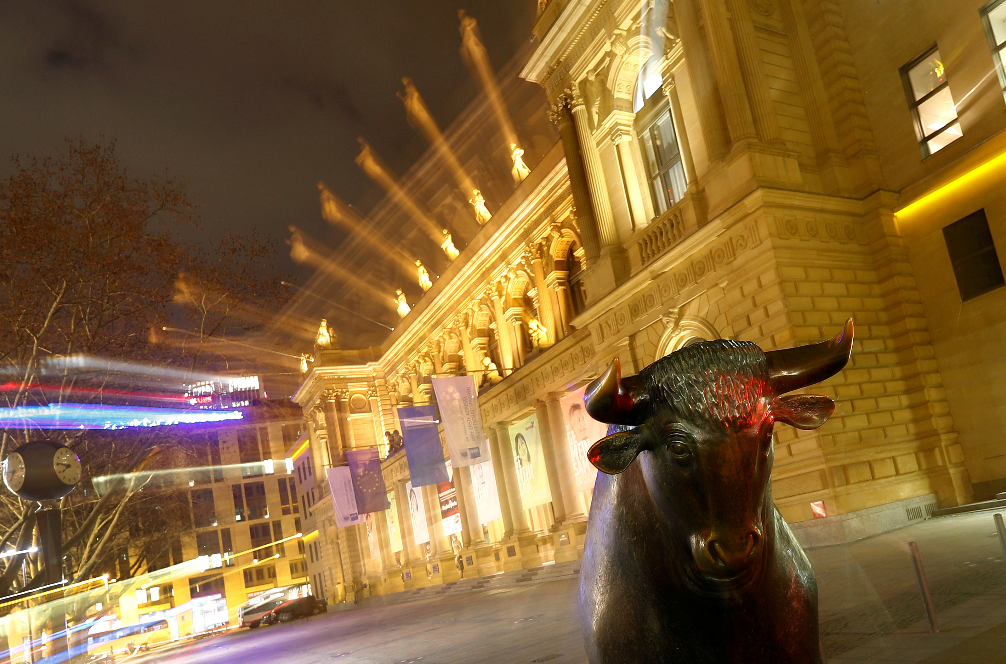 The bull, symbol for successful trading, is seen in front of the German stock exchange in Frankfurt, Germany, February 12, 2019.  REUTERS/Kai Pfaffenbach/File Photo
