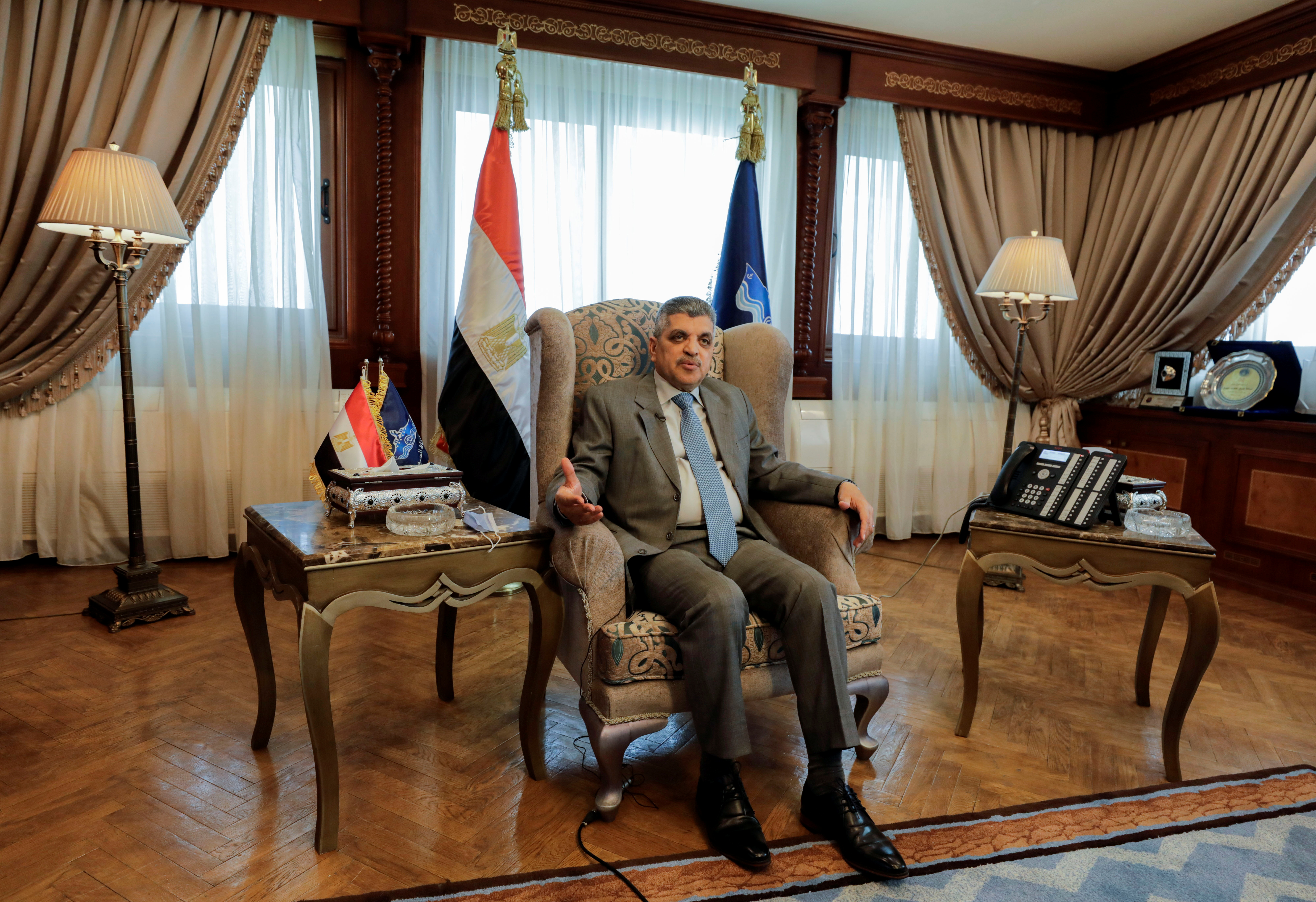 Osama Rabie, Chairman of the Suez Canal Authority, speaks during an interview with Reuters in his office in the city of Ismailia, Egypt April 6, 2021. REUTERS/Mohamed Abd El Ghany