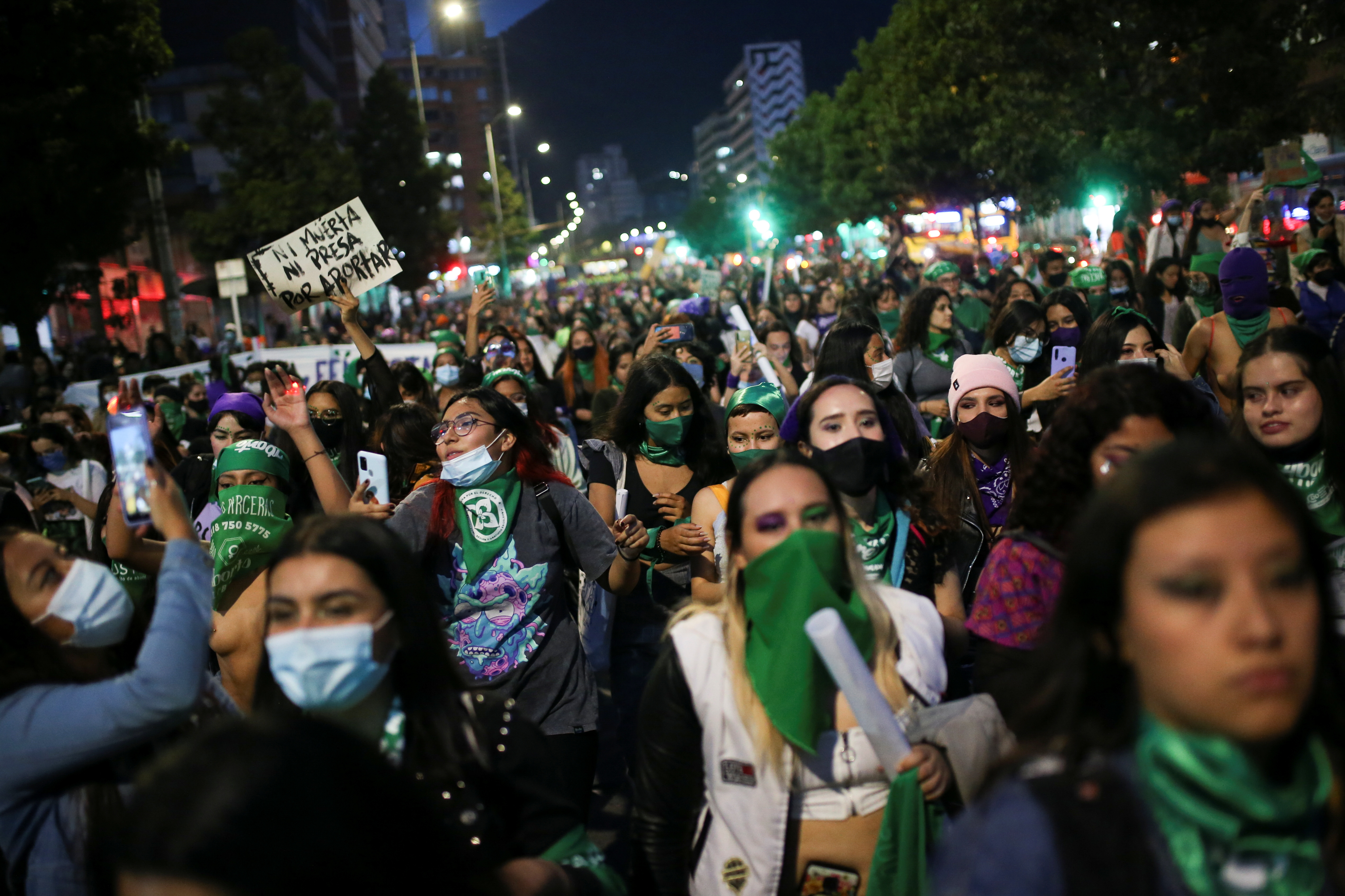 Demonstrators march in support of legal and safe abortion and to mark the International Safe Abortion Day in Bogota, Colombia September 28, 2021. The sign reads