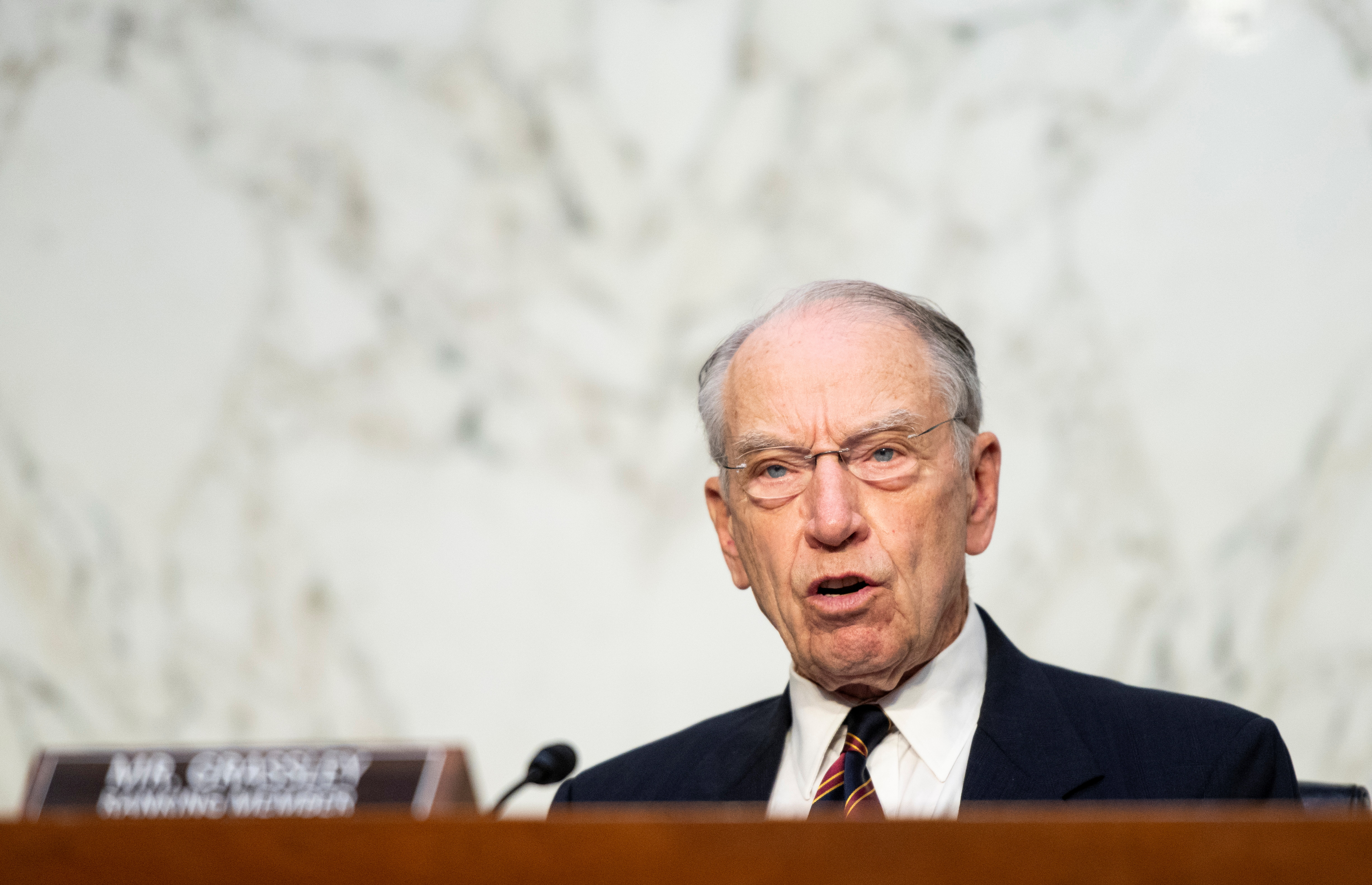 Ranking member Sen. Chuck Grassley (R-IA) speaks during the Senate Judiciary Committee hearing on Jim Crow 2021: The Latest Assault on the Right to Vote, in Washington, D.C., U.S., April 20, 2021. Bill Clark/Pool via REUTERS
