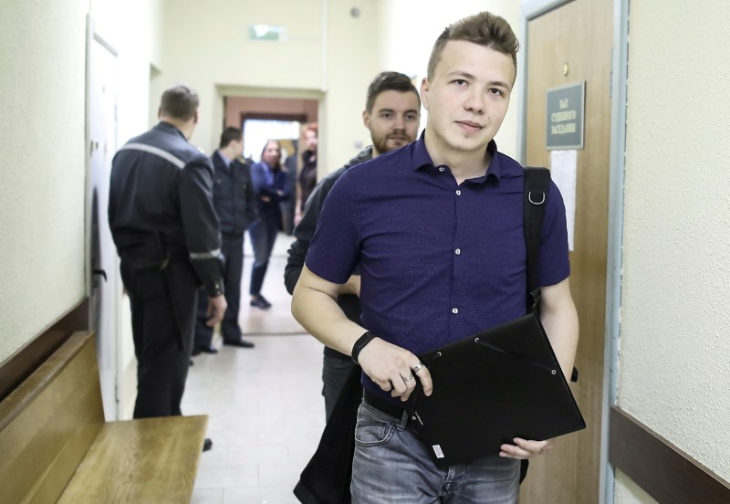 Opposition blogger and activist Roman Protasevich, who is accused of participating in an unsanctioned protest at the Kuropaty preserve, arrives for a court hearing in Minsk, Belarus April 10, 2017. REUTERS/Stringer/File Photo
