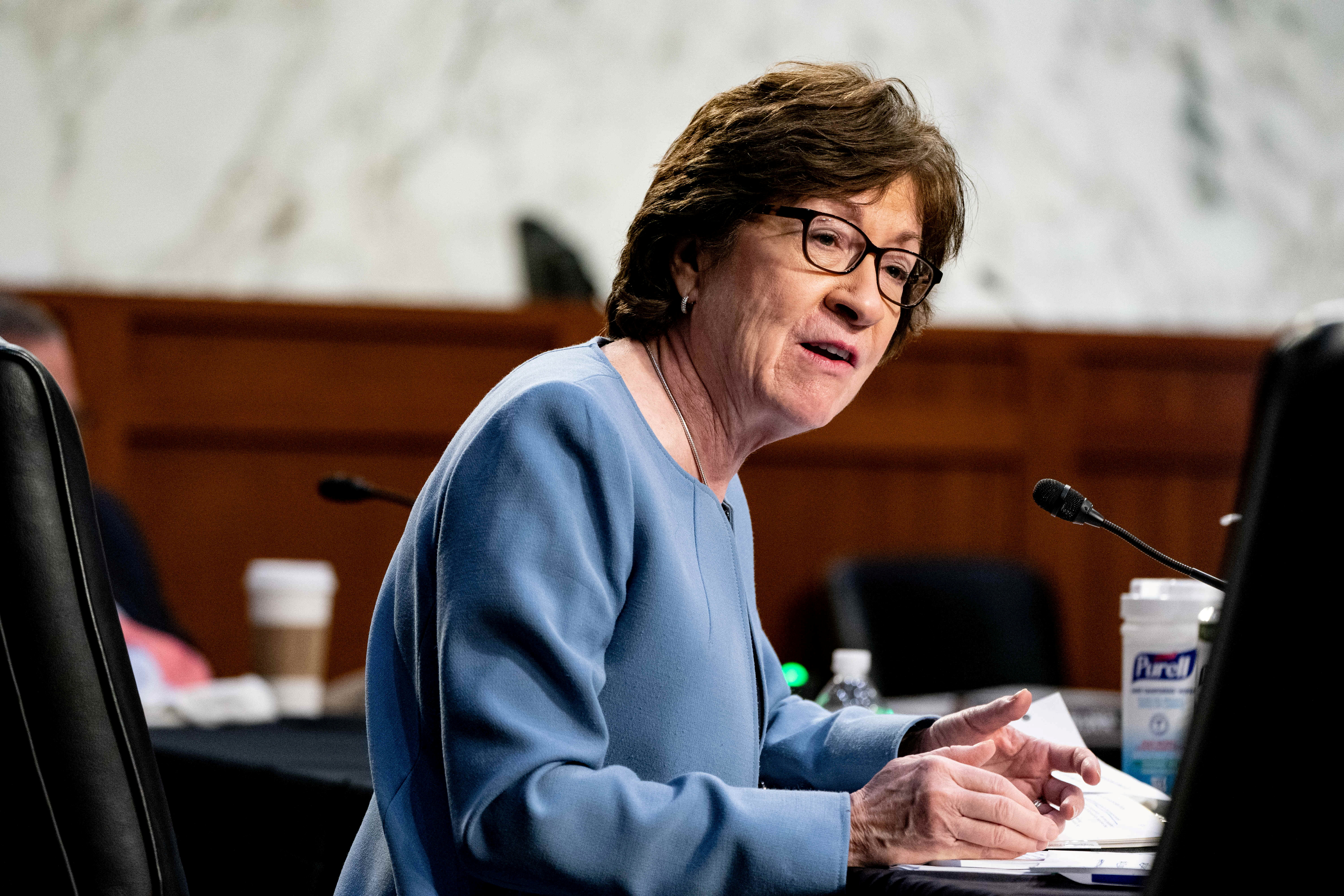 Senator Susan Collins, R-Maine, speaks during at a U.S. Senate Health, Education, Labor, and Pensions Committee hearing to examine the COVID-19 response, focusing on an update from federal officials, on Capitol Hill in Washington, U.S., March 18, 2021. Anna Moneymaker/Pool via REUTERS/File Photo
