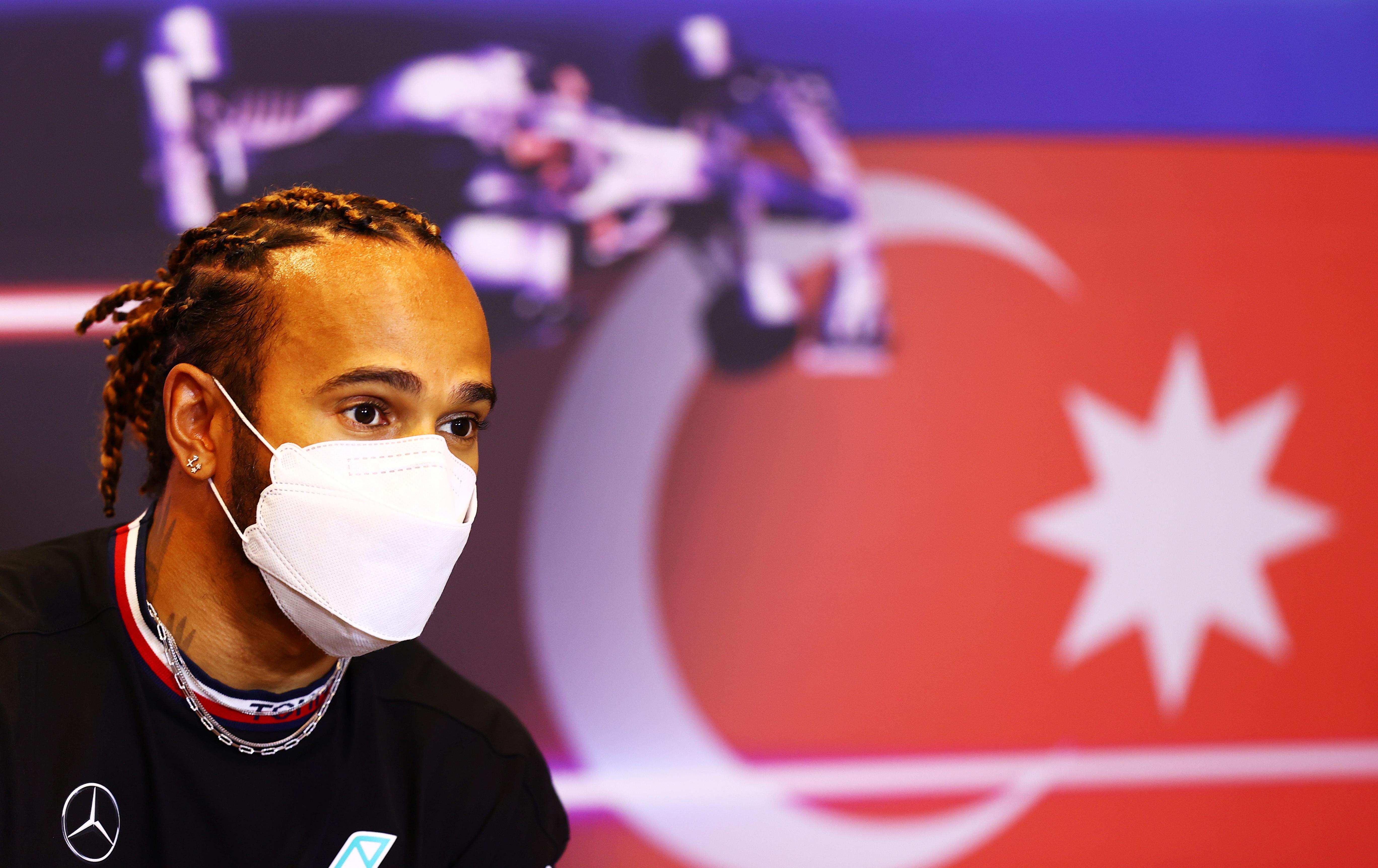 Formula One F1 - Formula One - Azerbaijan Grand Prix - Baku City Circuit, Baku, Azerbaijan - June 3, 2021 Mercedes' Lewis Hamilton during the press conference Pool via REUTERS/Francois Nel