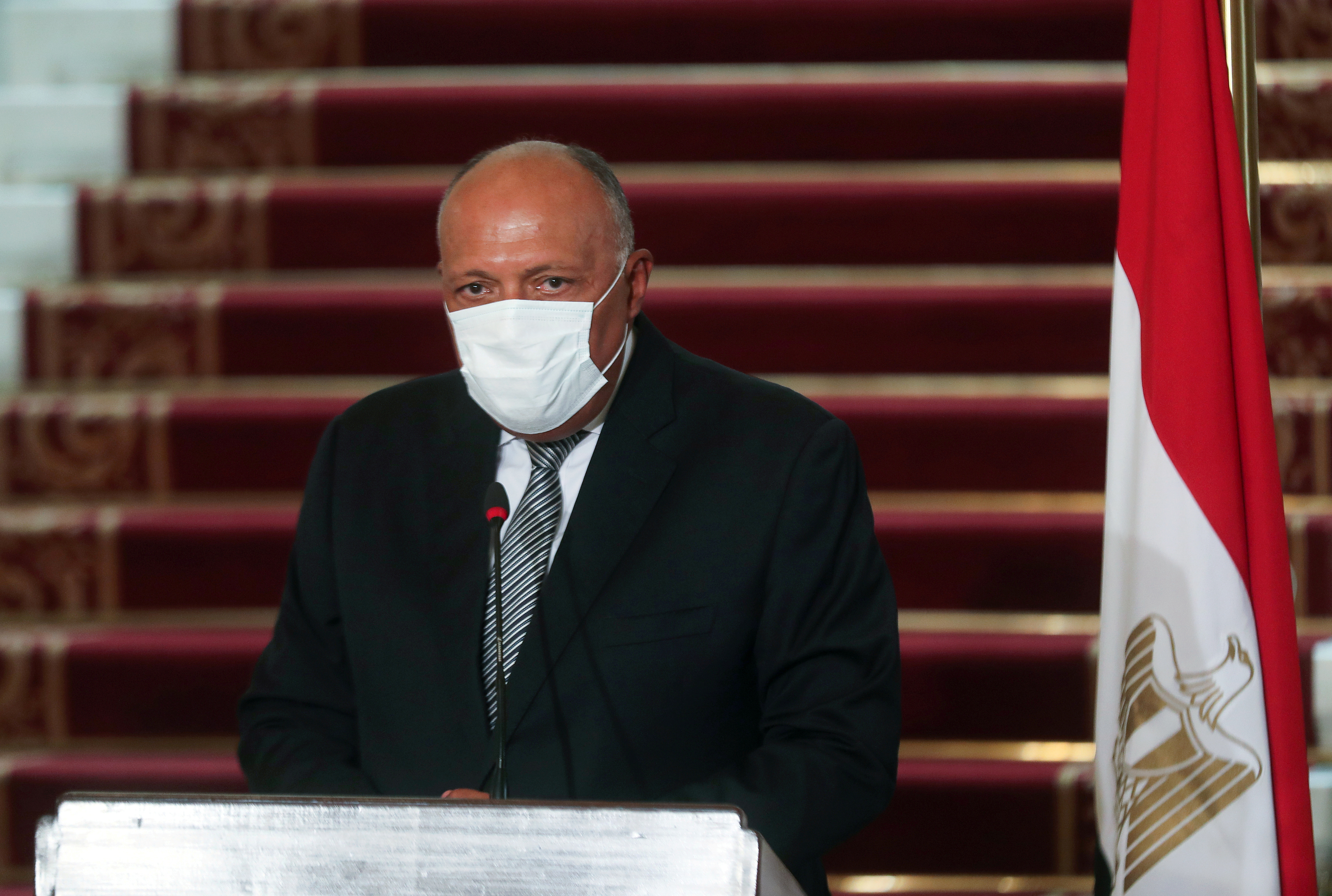Egyptian Foreign Minister Sameh Shoukry attends a news conference after the meeting with Saudi Foreign Minister Prince Faisal bin Farhan al-Saud at Tahrir Palace in Cairo, Egypt July 27, 2020. REUTERS/Mohamed Abd El Ghany/File Photo