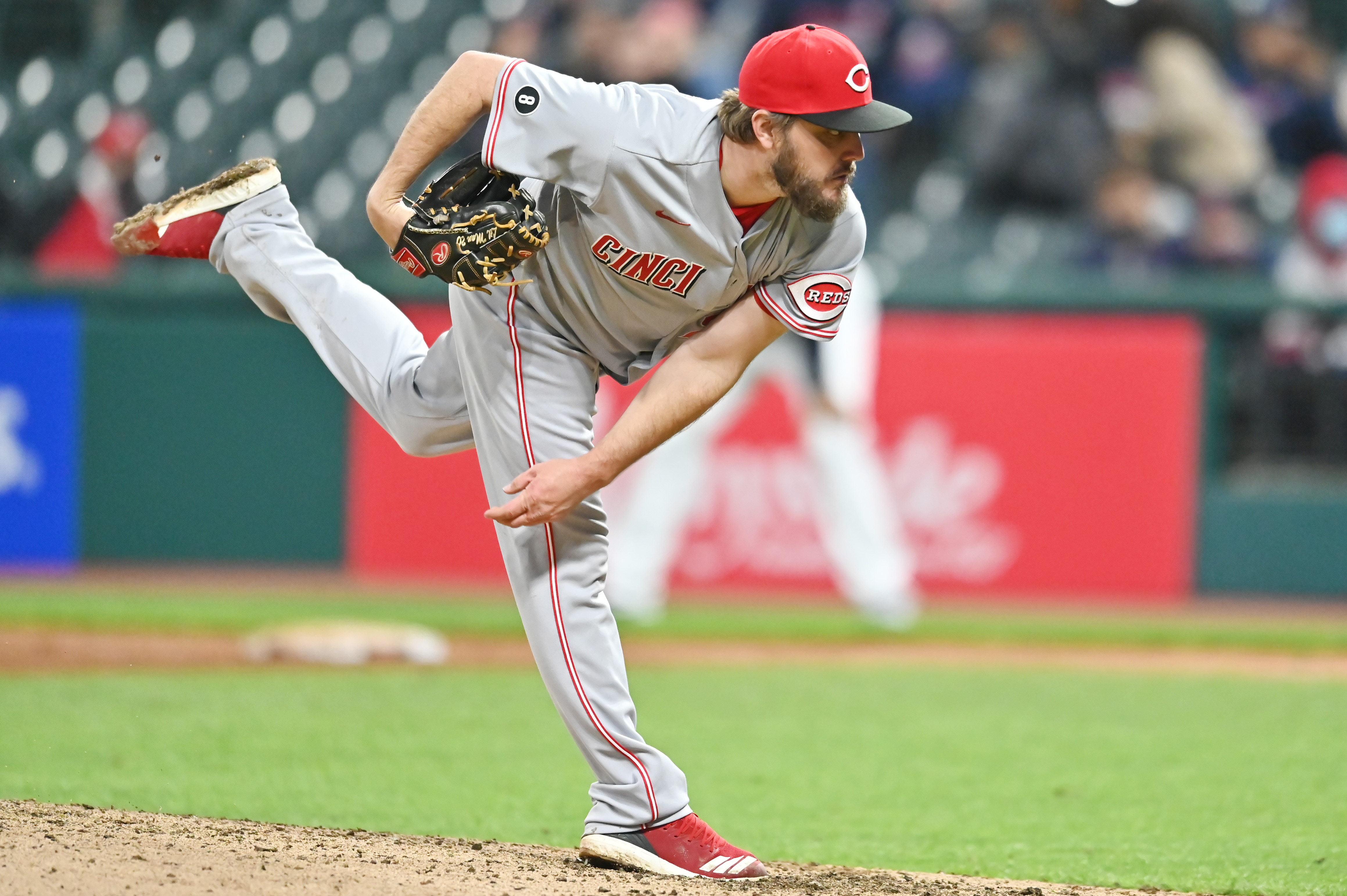 May 7, 2021; Cleveland, Ohio, USA; Cincinnati Reds starting pitcher Wade Miley (22) throws a pitch during the ninth inning against the Cleveland Indians at Progressive Field. Mandatory Credit: Ken Blaze-USA TODAY Sports