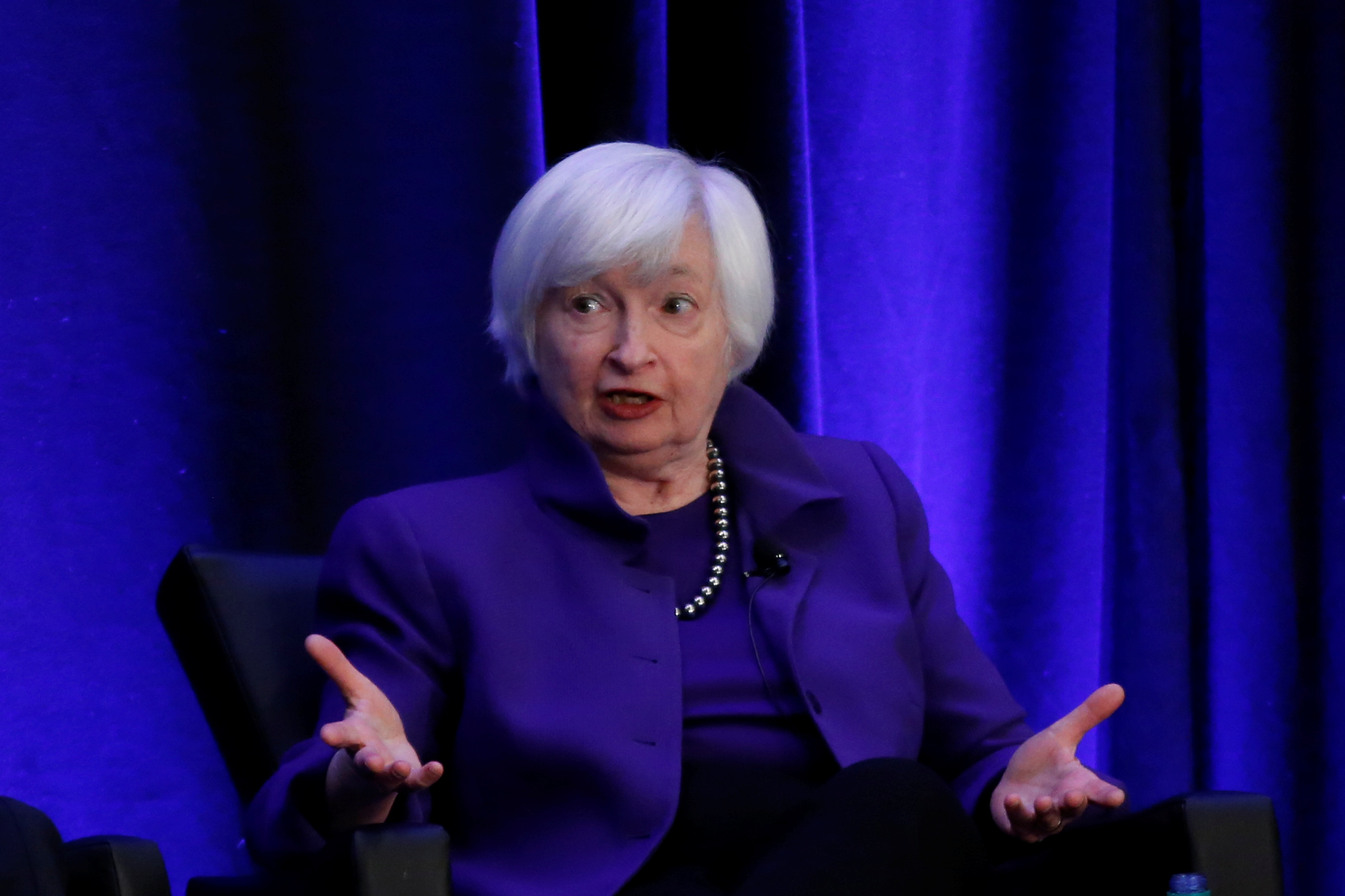 FILE PHOTO: Former Federal Reserve Chairman Janet Yellen speaks during a panel discussion at the American Economic Association/Allied Social Science Association (ASSA) 2019 meeting in Atlanta, Georgia, U.S., January 4, 2019.  REUTERS/Christopher Aluka Berry