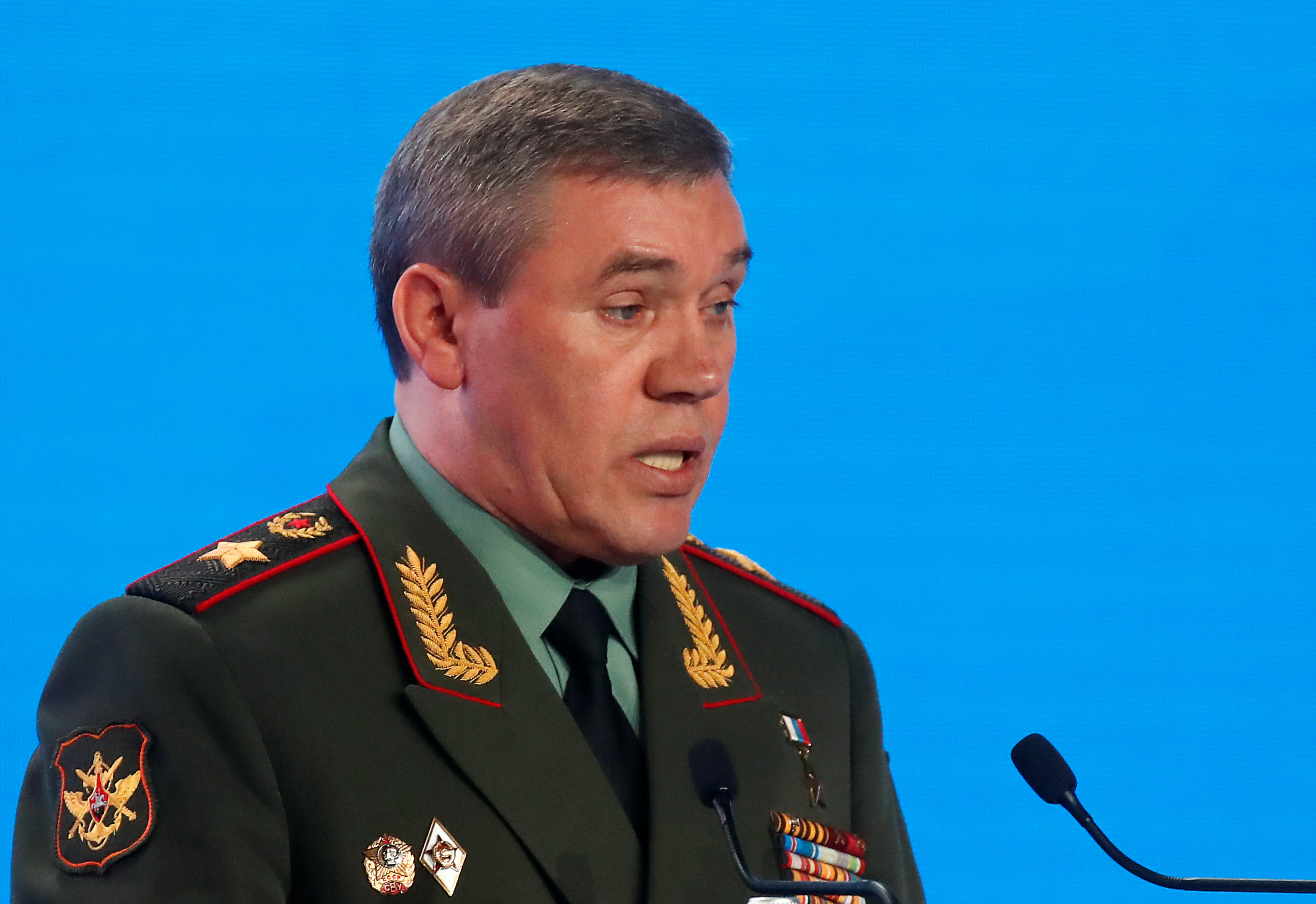 Chief of the General Staff of Russian Armed Forces Valery Gerasimov delivers a speech during the annual Moscow Conference on International Security (MCIS) in Moscow, Russia April 24, 2019. REUTERS/Maxim Shemetov