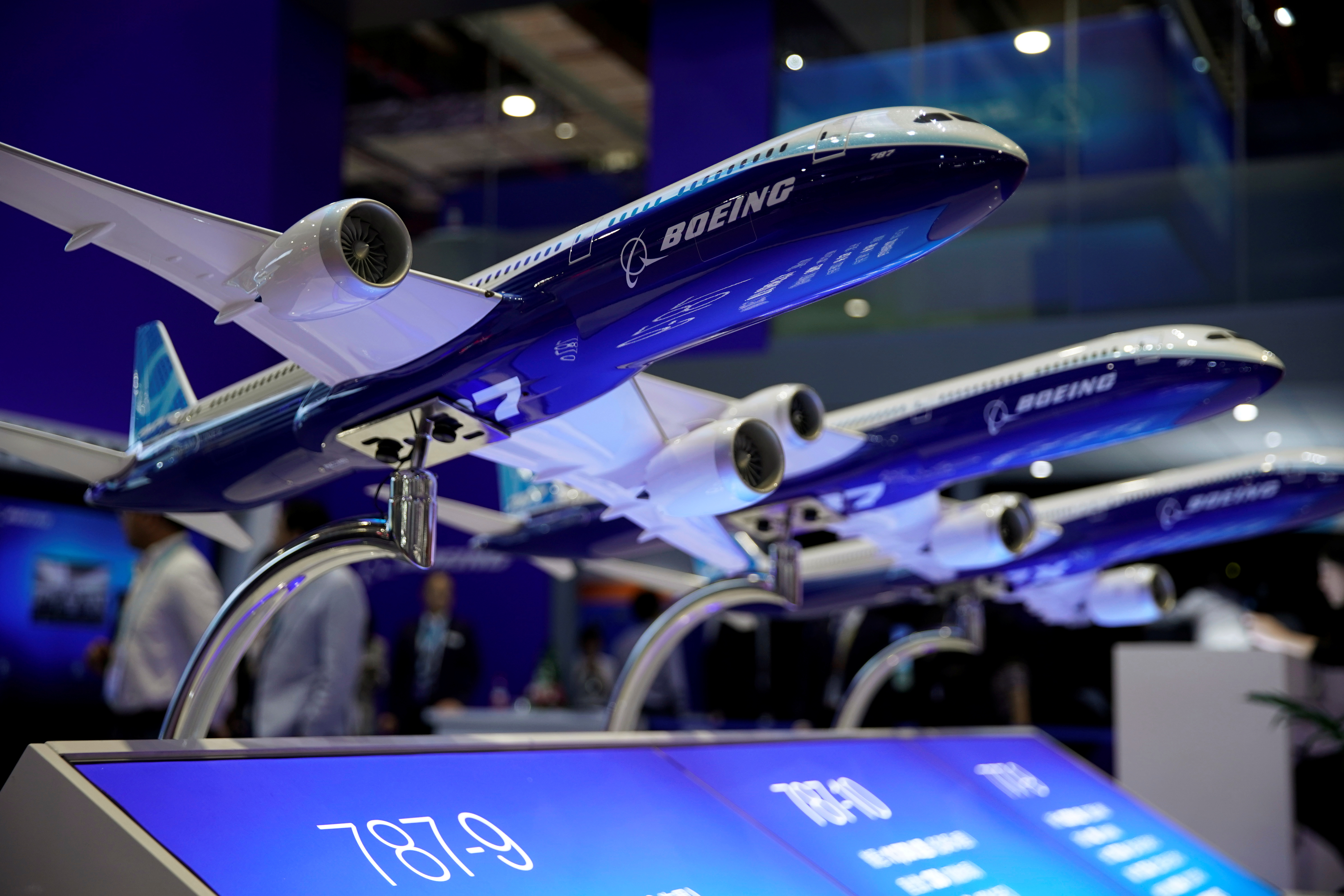 A Boeing model is seen at the second China International Import Expo (CIIE) in Shanghai, China November 6, 2019. Picture taken November 6, 2019. REUTERS/Aly Song