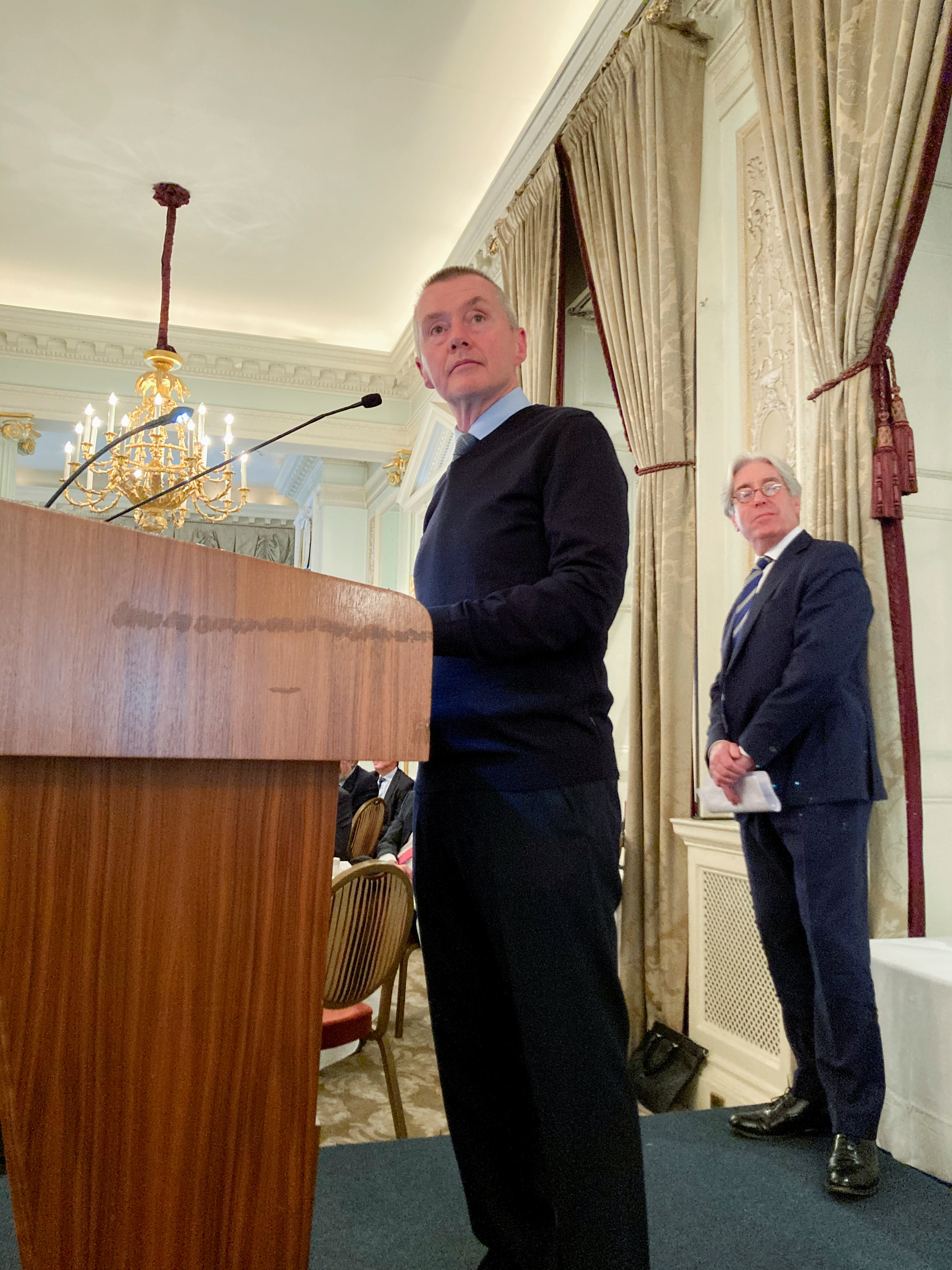 IATA's Director General Willie Walsh speaks at an Aviation Club U.K. event in central London, Britain, October 13, 2021. REUTERS/Sarah Young