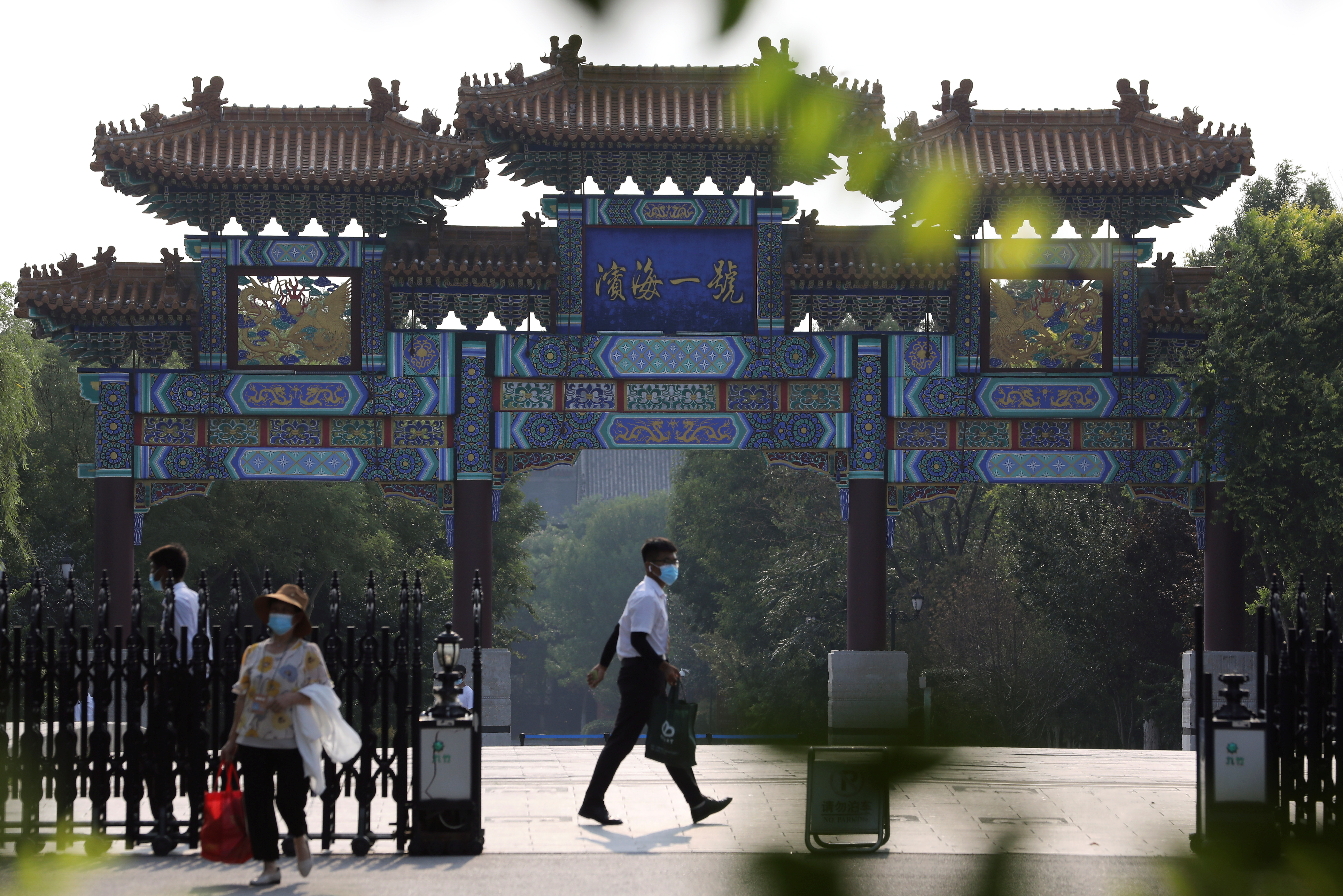 Security personnel are seen at an entrance to a hotel where U.S. Deputy Secretary of State Wendy Sherman is expected to meet Chinese officials, in Tianjin, China July 25, 2021.   REUTERS/Tingshu Wang