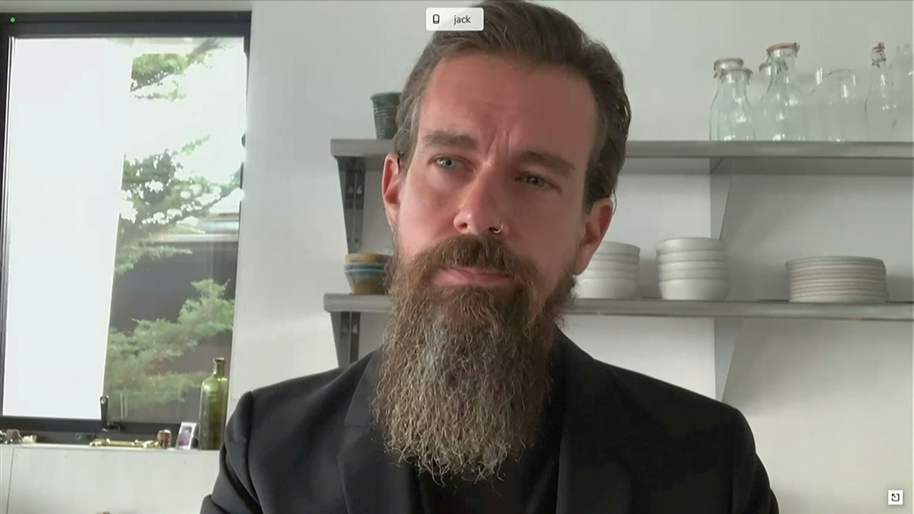 Twitter CEO Jack Dorsey testifies remotely via videoconference in this screengrab made from video during a Senate Judiciary Committee hearing in Washington, U.S., November 17, 2020. U.S. Senate Judiciary Committee via REUTERS