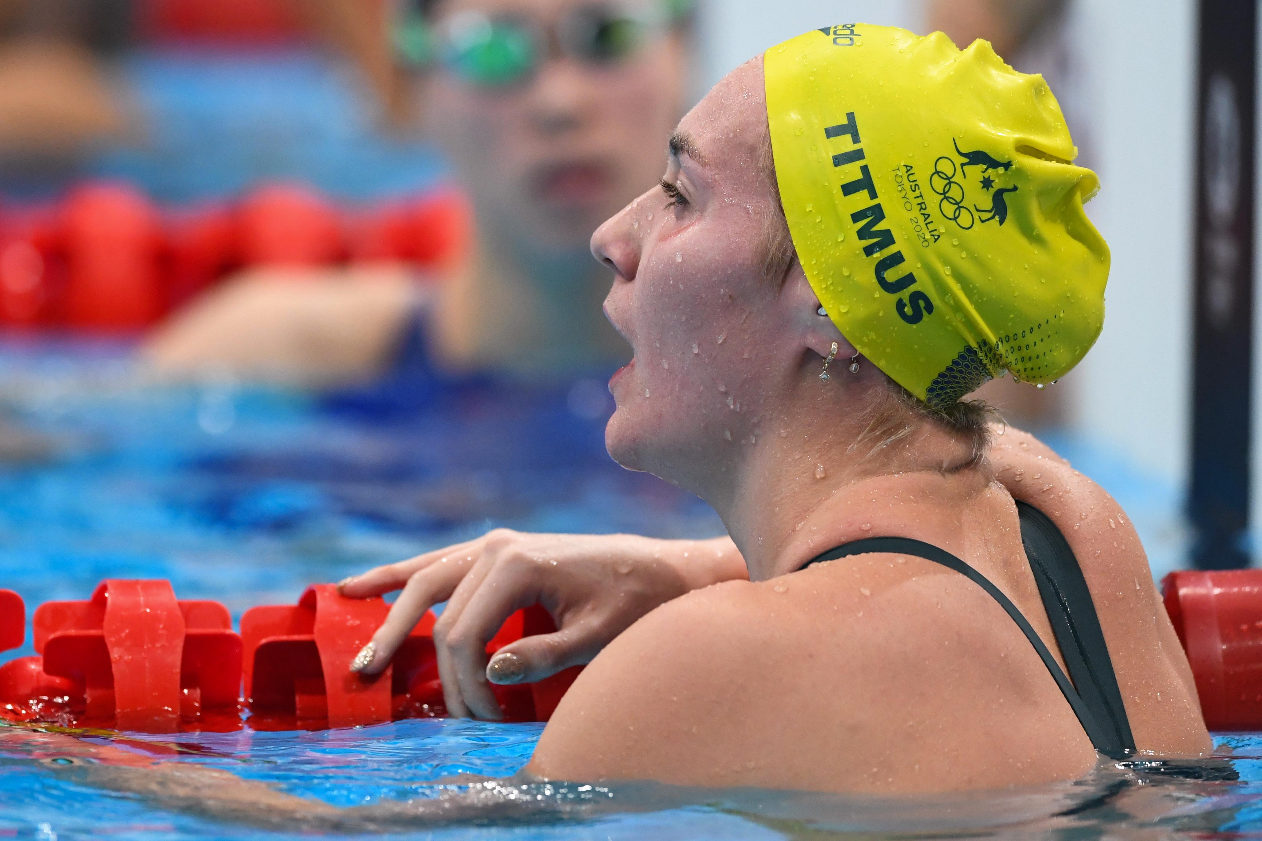 Tokyo 2020 Olympics - Swimming - Women's 800m Freestyle - Final- Tokyo Aquatics Centre - Tokyo, Japan - July 31, 2021. Ariarne Titmus of Australia reacts after winning silver REUTERS/Piroschka Van De Wouw