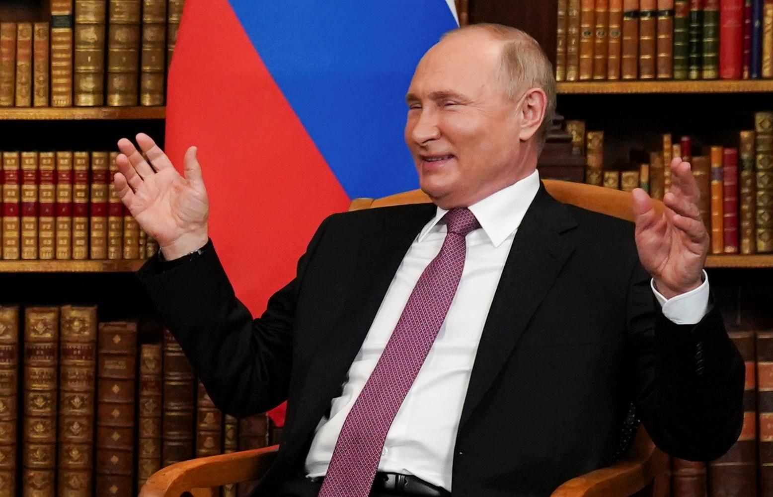 Russia's President Vladimir Putin reacts during the U.S.-Russia summit with U.S. President Joe Biden (not pictured) at Villa La Grange in Geneva, Switzerland, June 16, 2021. REUTERS/Kevin Lamarque