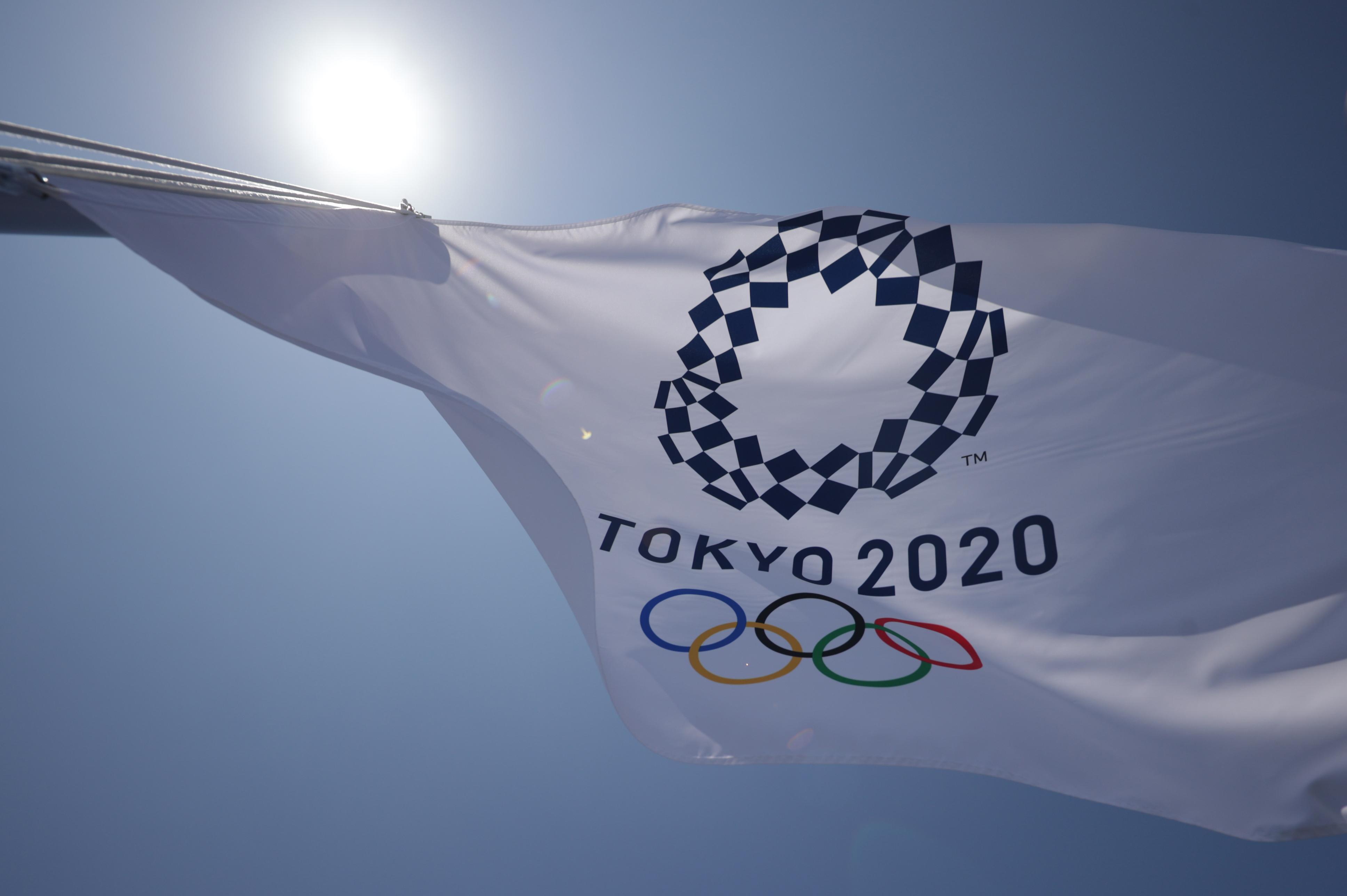 Tokyo 2020 Olympics - Tennis Training - Ariake Tennis Park, Tokyo, Japan - July 19, 2021 A Olympic flag flutters at the Ariake Tennis Park REUTERS/Hannah Mckay