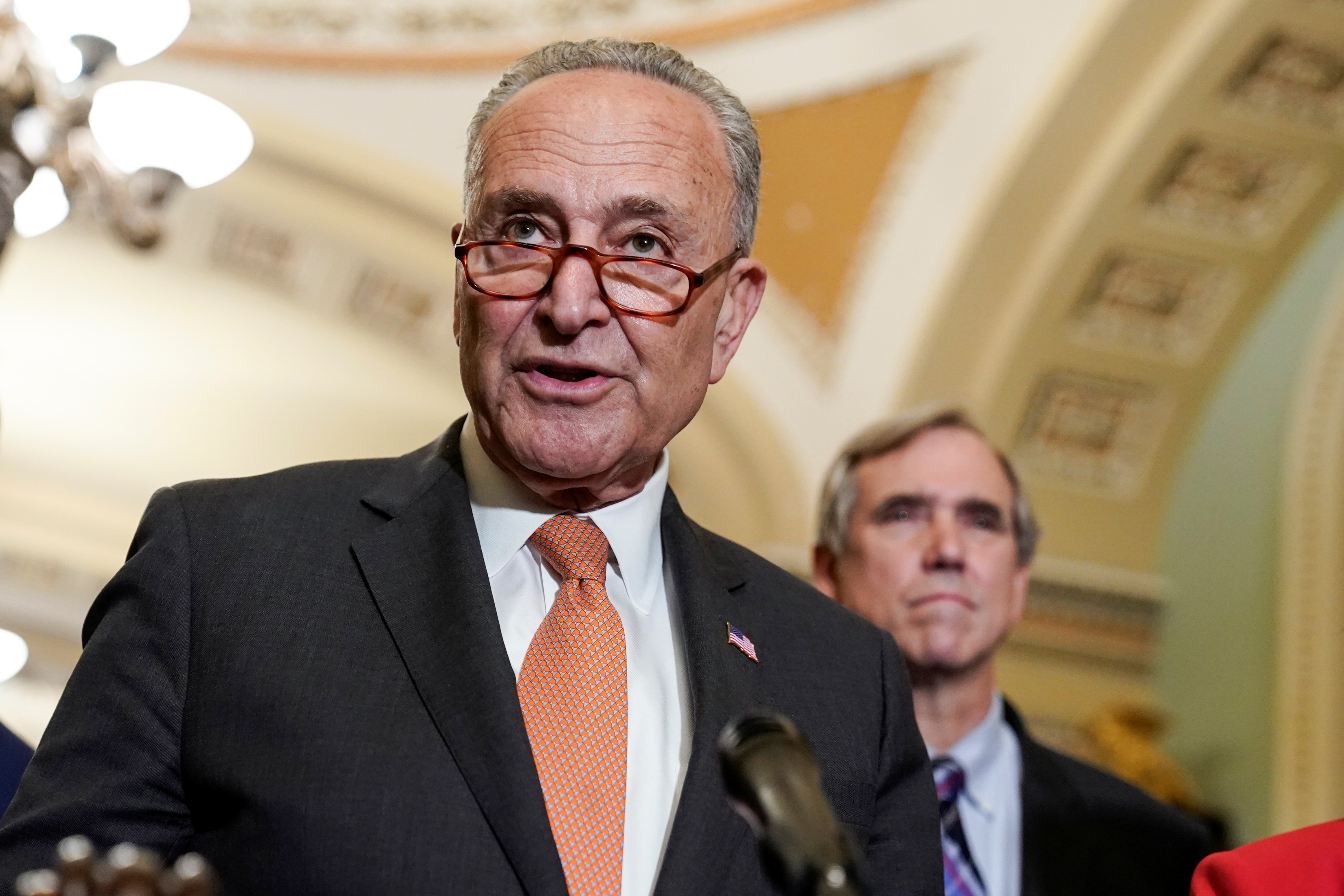 Senate Majority Leader Chuck Schumer (D-NY) speaks to the media after the Senate Democratic policy luncheon on Capitol Hill in Washington, U.S., June 22, 2021.      REUTERS/Joshua Roberts