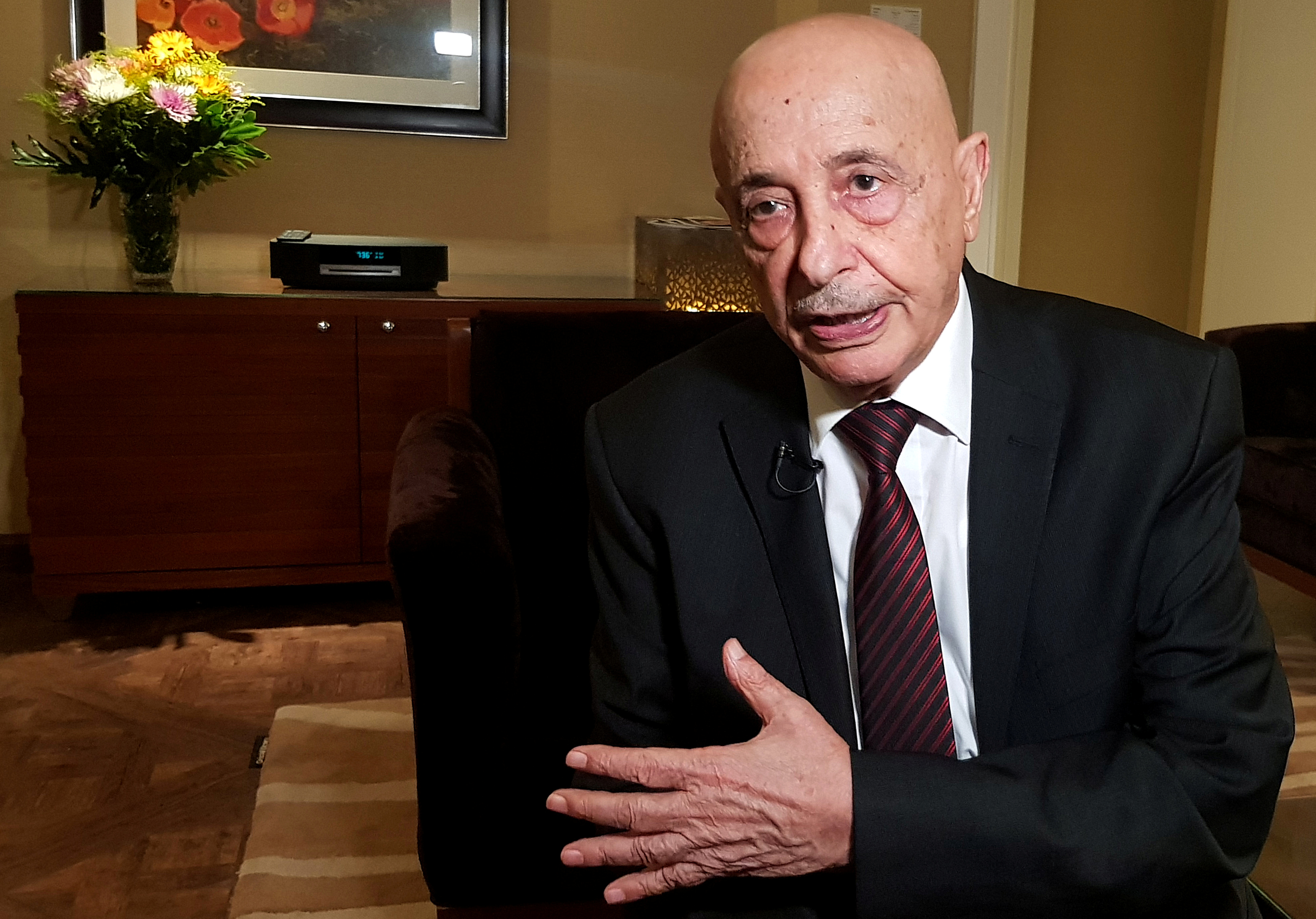 Aguila Saleh, Head of East Libya Parliament, speaks during an interview with Reuters in Cairo, Egypt June 12, 2019. REUTERS/Mahmoud Mourad