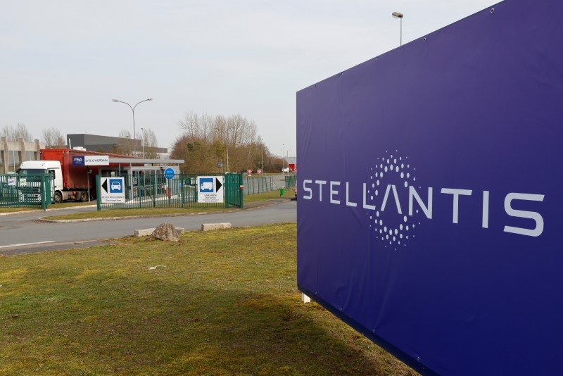 A view shows the logo of Stellantis at the entrance of the company's factory in Hordain, France, March 3, 2021. Picture taken March 3, 2021. REUTERS/Pascal Rossignol/File Photo