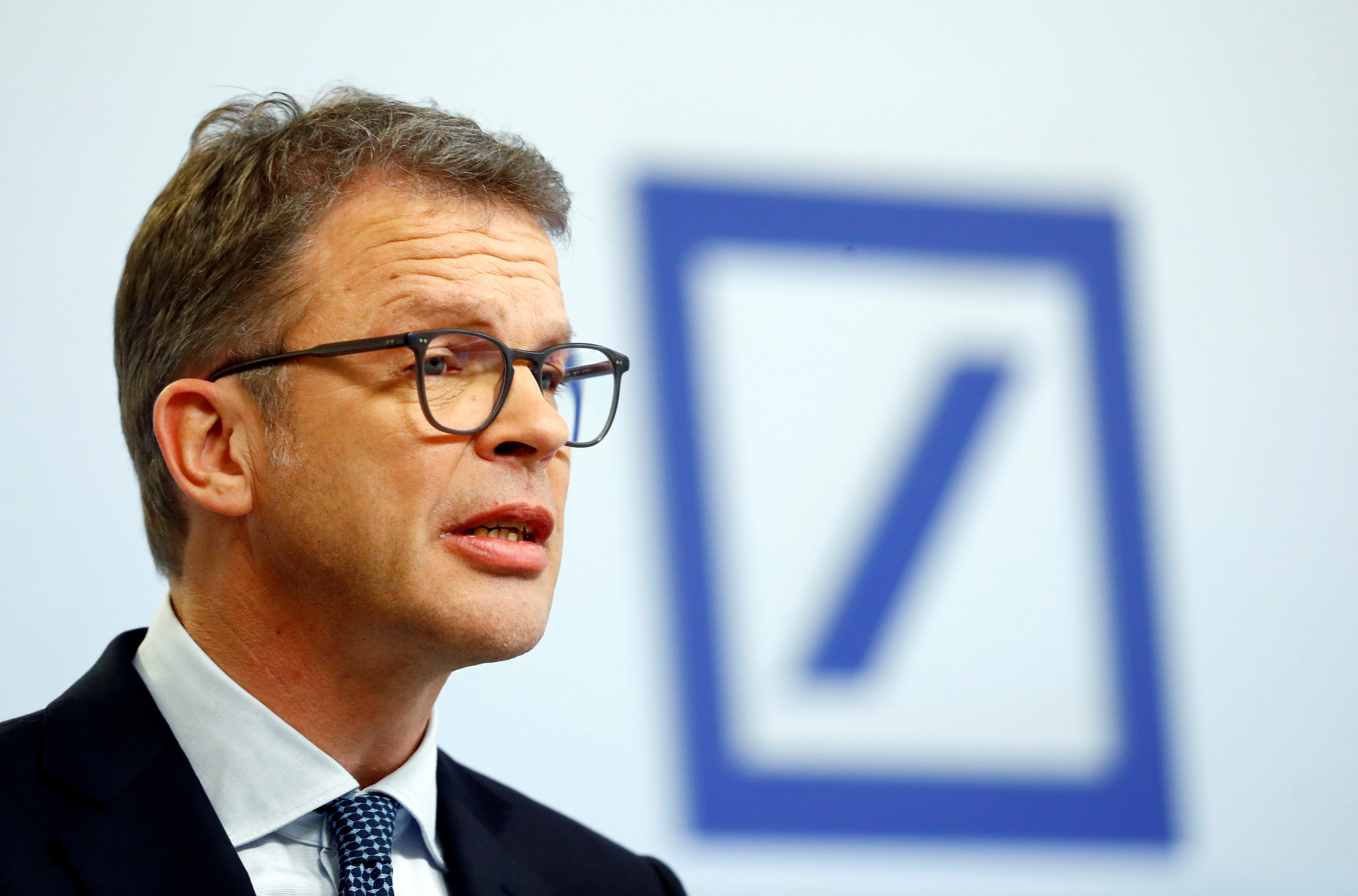 Christian Sewing, CEO of Deutsche Bank AG, speaks during the bank's annual news conference in Frankfurt, Germany January 30, 2020. REUTERS/Ralph Orlowski
