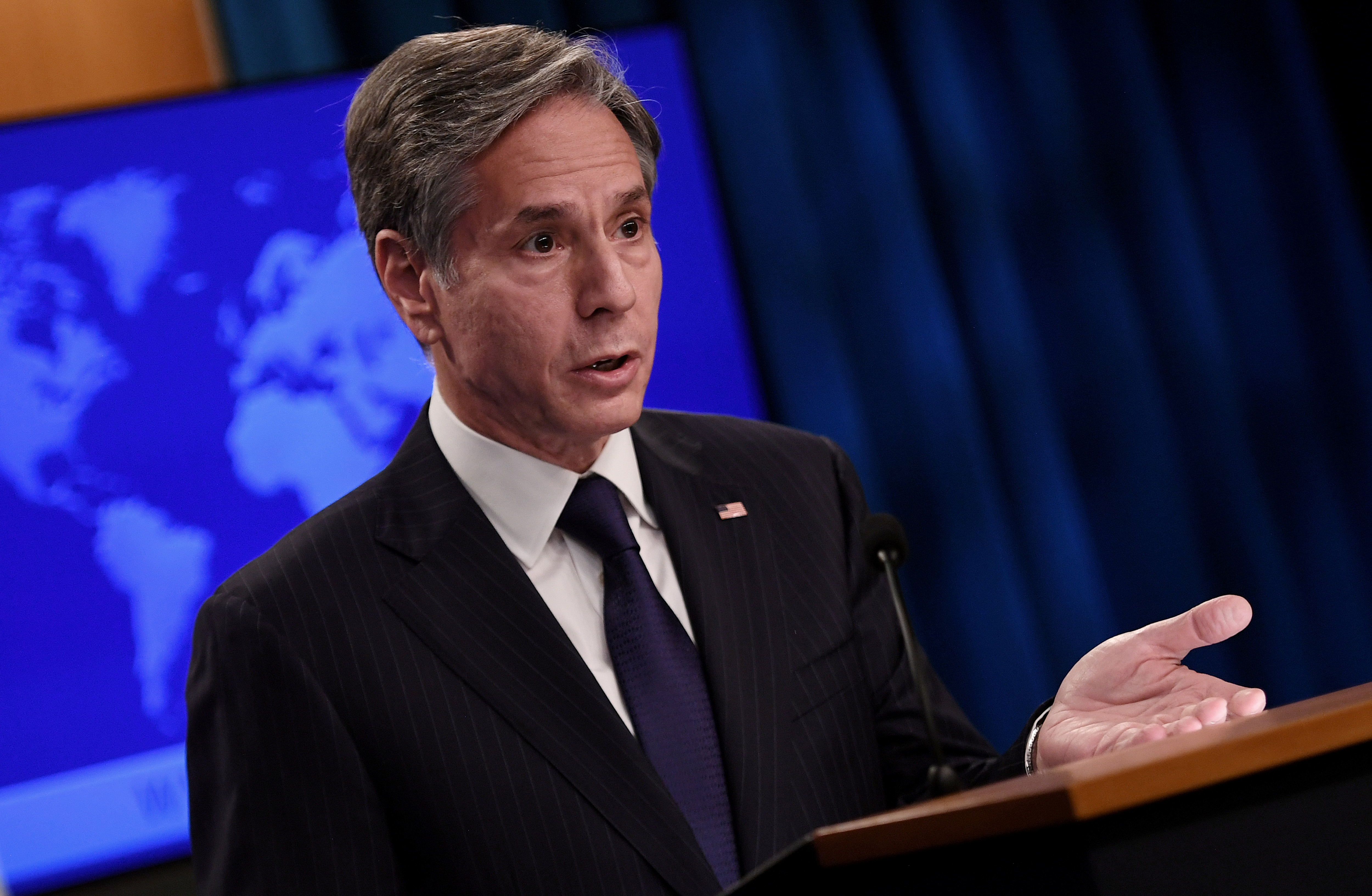 U.S. Secretary of State Antony Blinken speaks about Afghanistan during a media briefing at the State Department, in Washington, U.S., September 3, 2021. Olivier Douliery/Pool via REUTERS