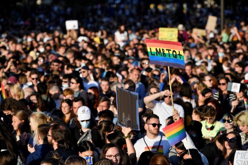 Demonstrators protest against Hungarian Prime Minister Viktor Orban and the latest anti-LGBTQ law in Budapest, Hungary, June 14, 2021. REUTERS/Marton Monus/File Photo