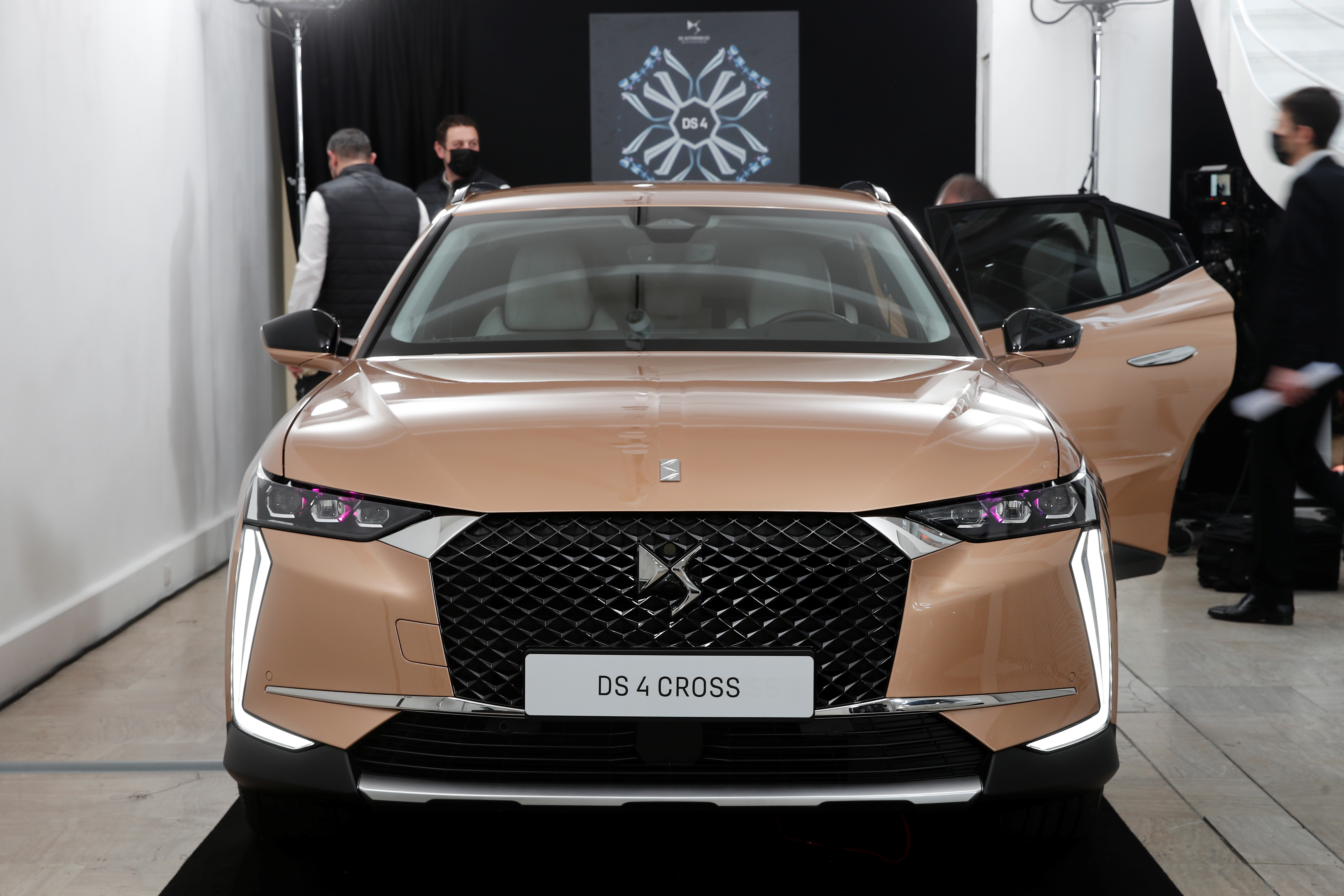 A DS 4 automobile, produced by Stellantis, stands on display during its launch event in Paris, France, February 3, 2021.