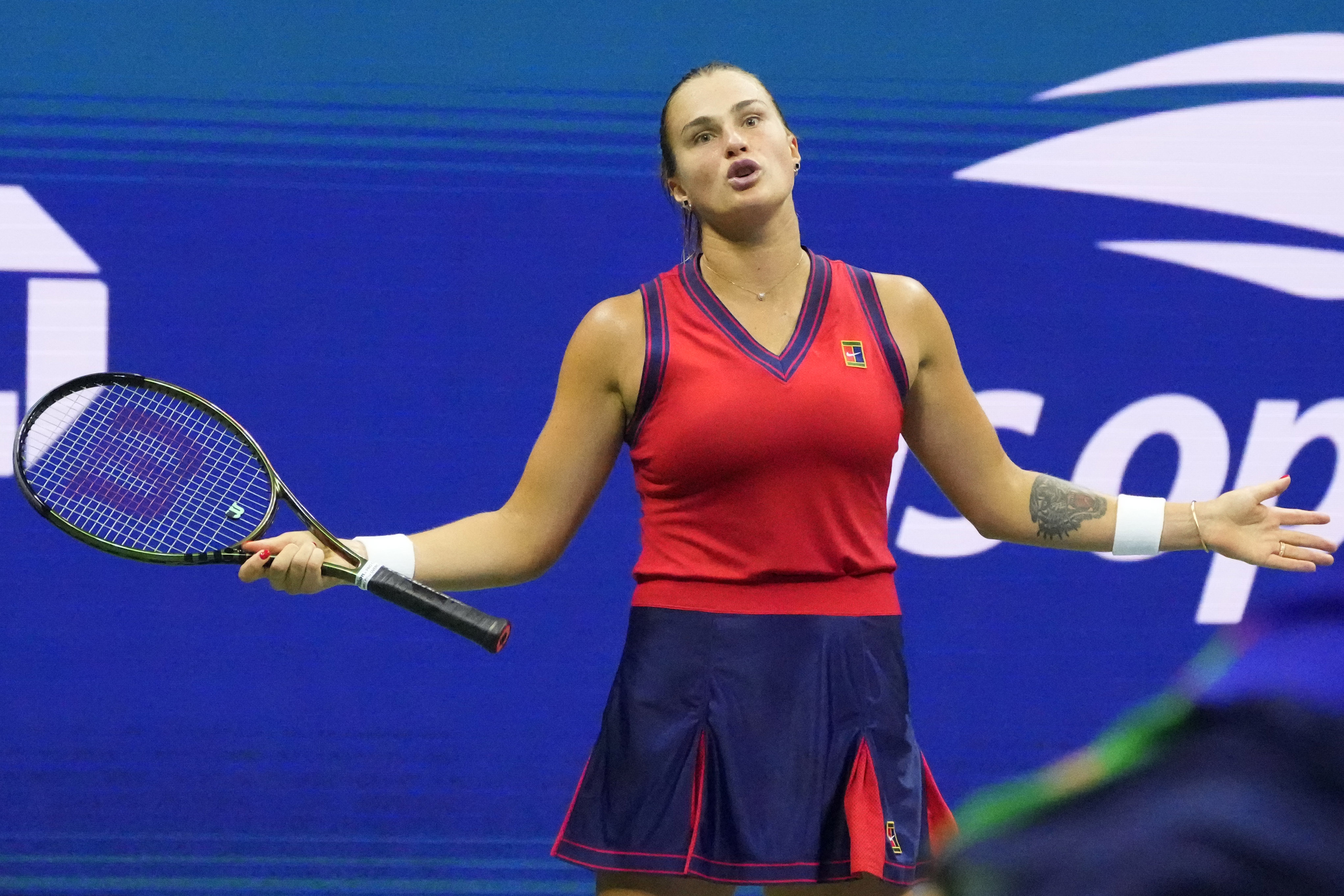 Sep 9, 2021; Flushing, NY, USA; Aryna Sabalenka of Belarus reacts after losing a point against Leylah Fernandez of Canada (not pictured)on day eleven of the 2021 U.S. Open tennis tournament at USTA Billie Jean King National Tennis Center. / Robert Deutsch-USA TODAY Sports/File Photo