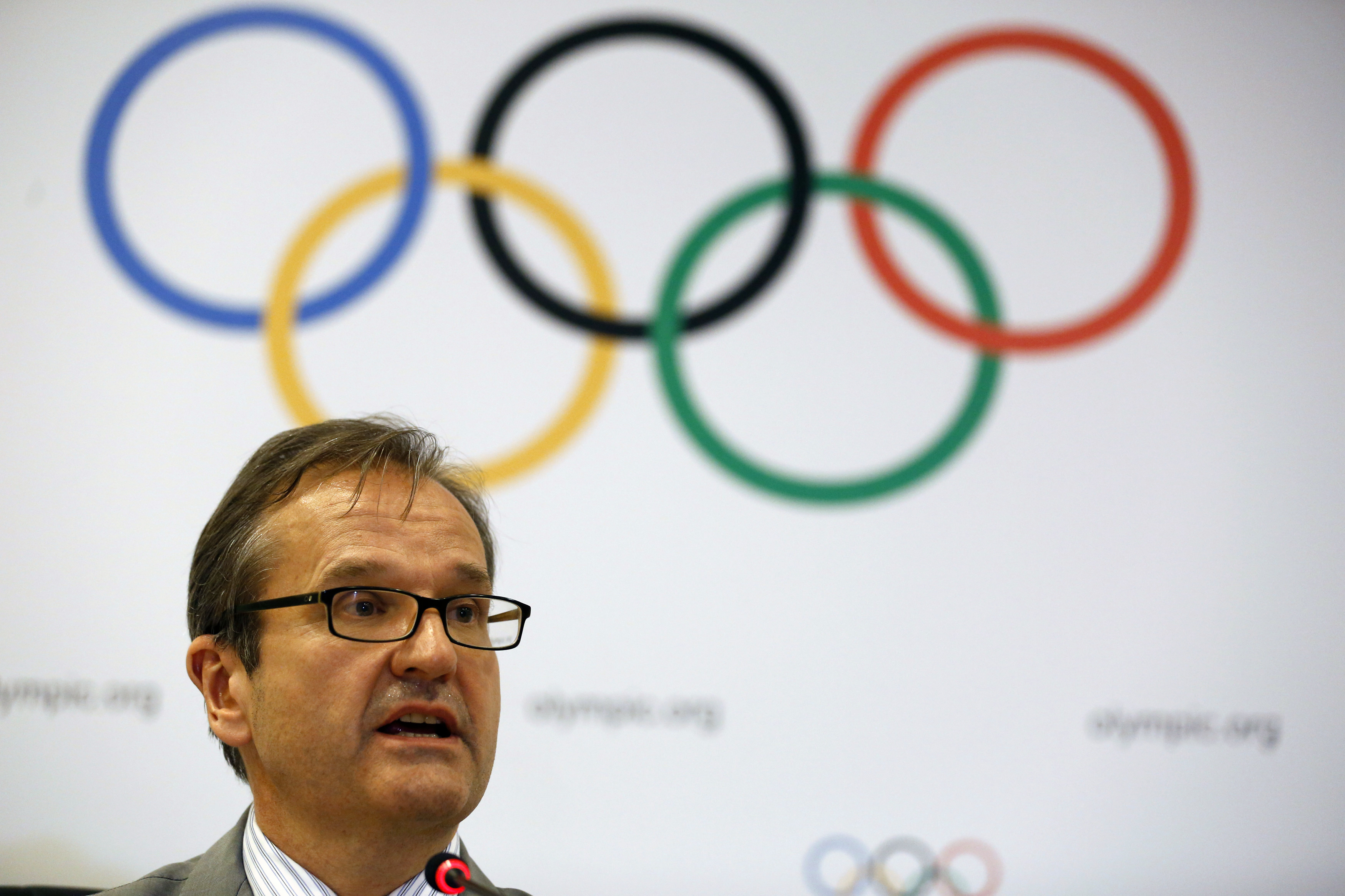 International Olympic Committee (IOC) spokesman Mark Adams speaks during a news conference in Rio de Janeiro February 26, 2015.  REUTERS/Pilar Olivares