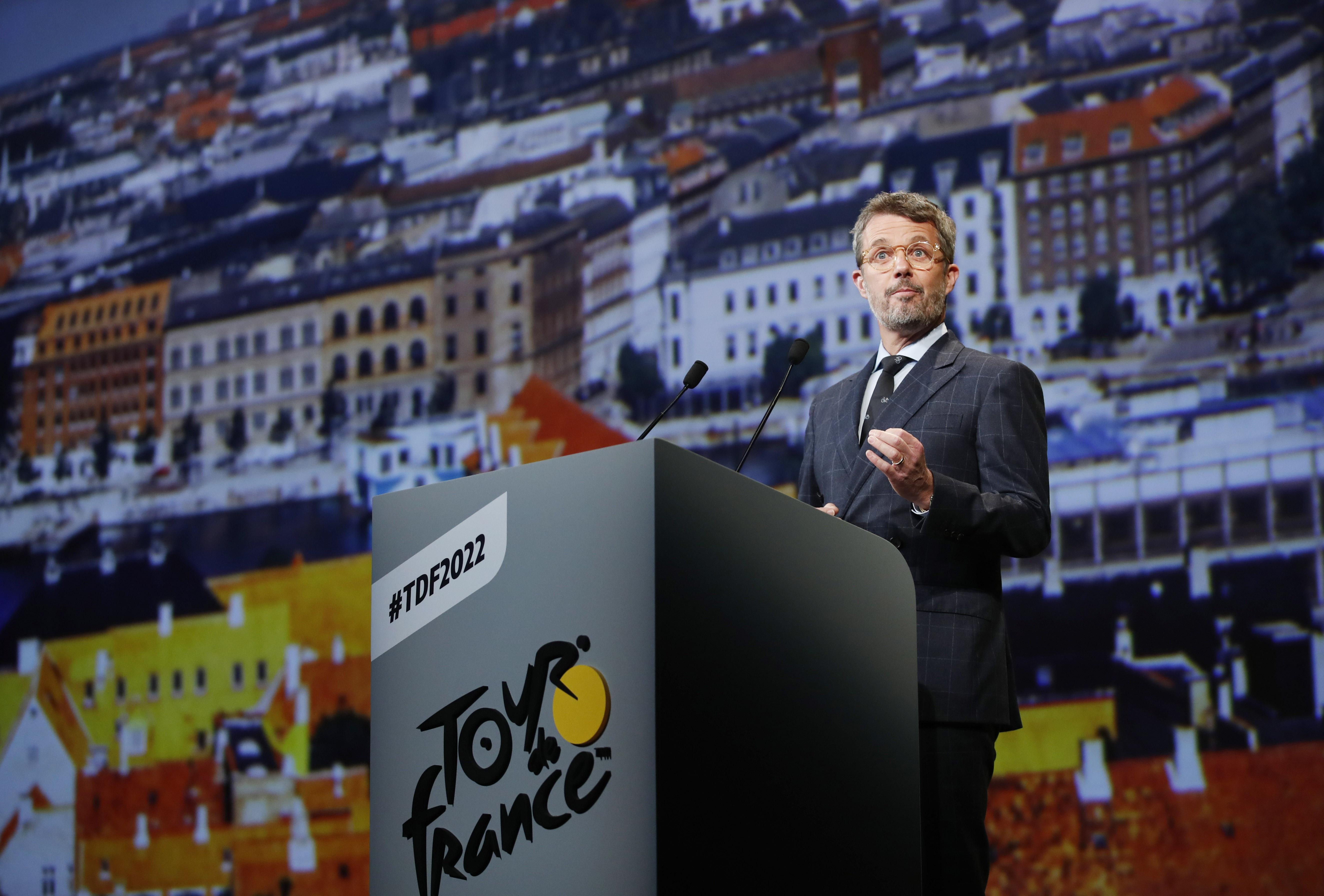 Cycling - 2022 Tour de France Presentation - Palais des Congres, Paris, France - October 14, 2021 Frederik, Crown Prince of Denmark during the presentation for the 2022 Tour de France and the Tour de France Femmes REUTERS/Gonzalo Fuentes