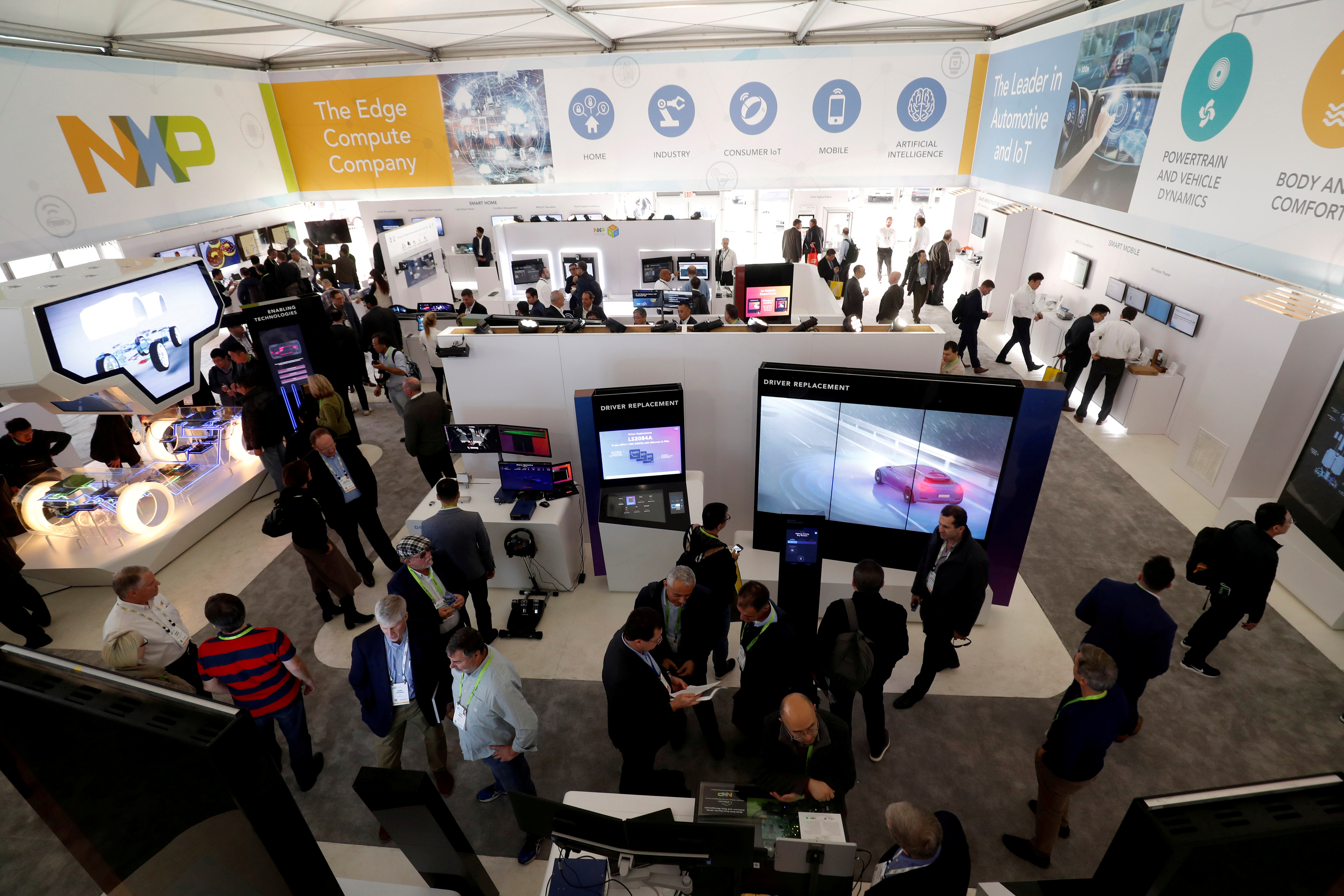 A view of the NXP booth is shown during the 2019 CES in Las Vegas, Nevada, U.S. January 8, 2019. REUTERS/Steve Marcus/File Photo
