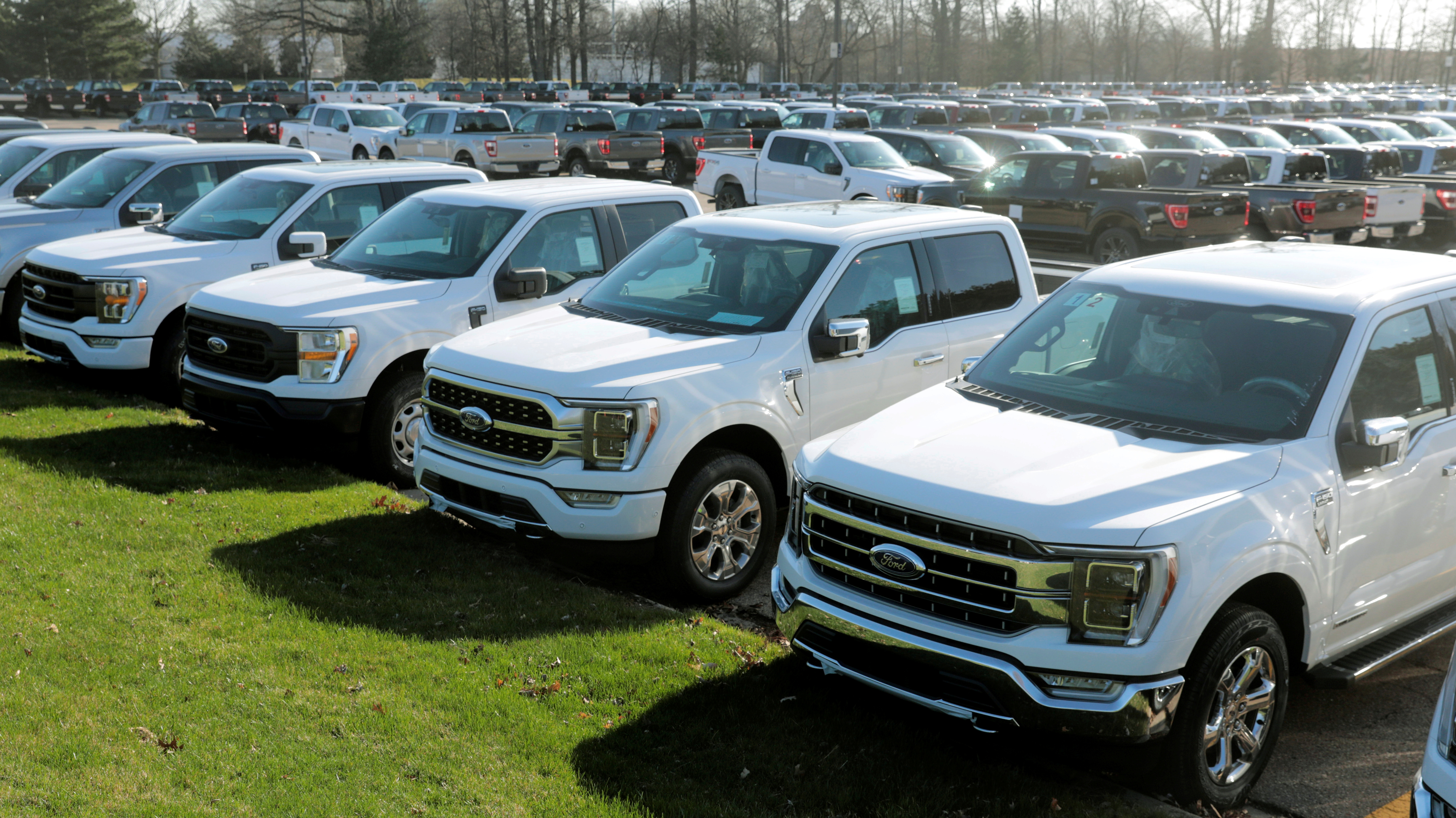 Newly manufactured Ford Motor Co. 2021 F-150 pick-up trucks are seen waiting for missing parts in Dearborn, Michigan, U.S., March 29, 2021.    REUTERS/Rebecca Cook