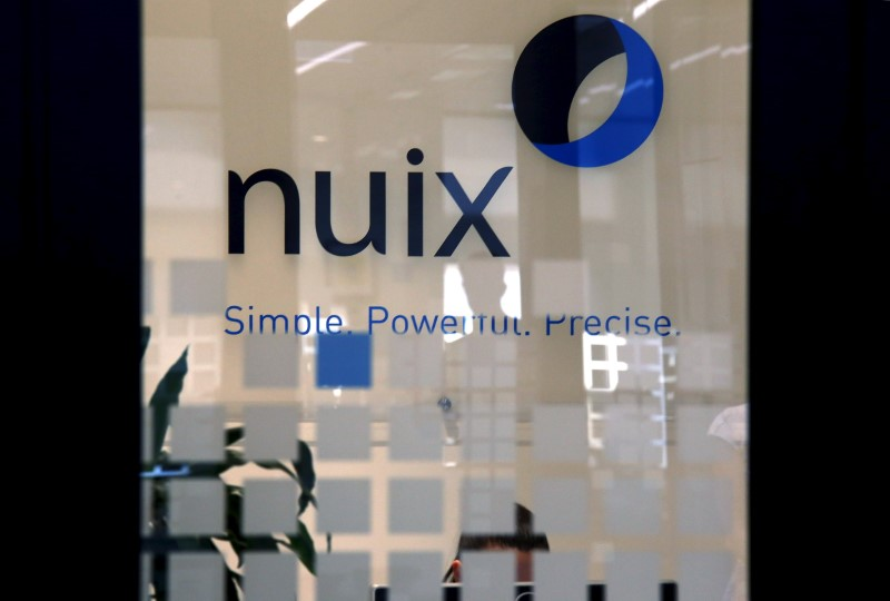 The logo of software company Nuix can be seen in their office located in central Sydney, Australia, April 5, 2016.  REUTERS/David Gray