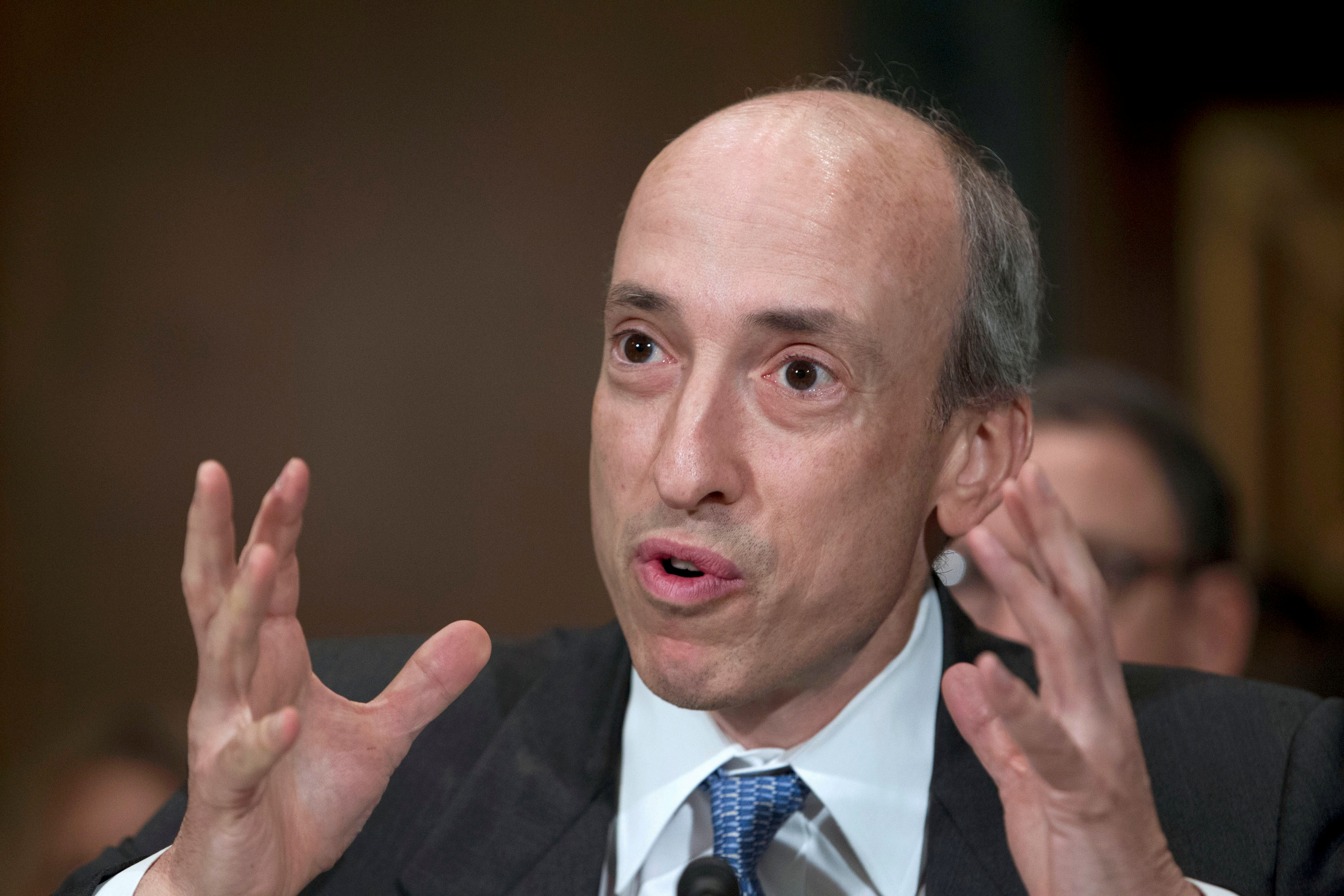 Then-Commodity Futures Trading Commission Chair Gary Gensler testifies at a Senate Banking, Housing and Urban Affairs Committee hearing on Capitol Hill July 30, 2013. REUTERS/Jose Luis Magana/File Photo