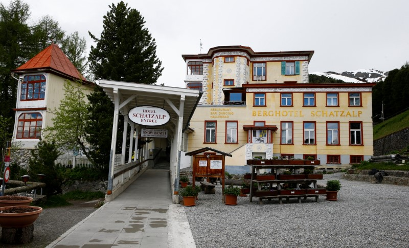 The entrance of the Hotel Schatzalp, a former lung sanatorium is seen in the Alpine resort of Davos, amid the spread of the coronavirus disease (COVID-19), in Davos, Switzerland June 9, 2021. Picture taken June 9, 2021.  REUTERS/Arnd Wiegmann