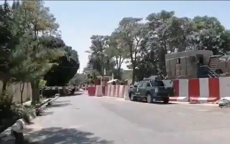 A view shows the entrance to the police headquarters, in city of Ghazni, Afghanistan in this screen grab taken from a video released by the Taliban on August 12, 2021. Taliban Handout/via REUTERS
