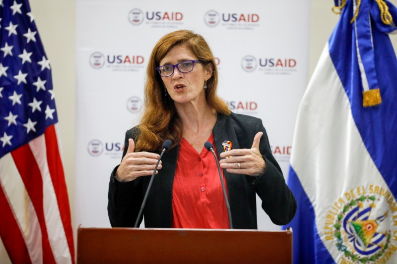 Samantha Power, administrator of the United States Agency for International Development, delivers a speech during a visit to El Salvador at the Central American University in San Salvador, El Salvador June 14, 2021. REUTERS/Jose Cabezas