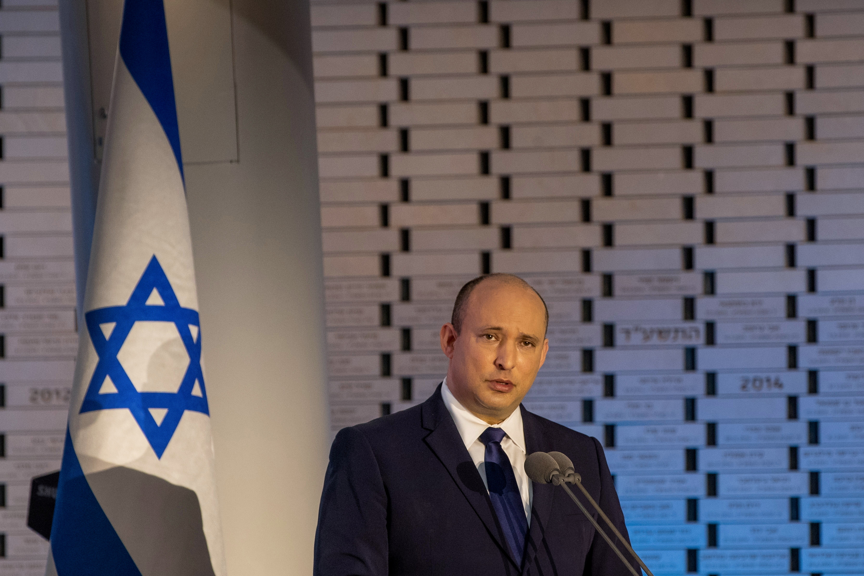 Israeli Prime Minister Naftali Bennett speaks during a memorial ceremony of the 48th anniversary of the Yom Kippur War, at Mount Herzl in Jerusalem, September 19, 2021. Ohad Zwigenberg/Pool via REUTERS