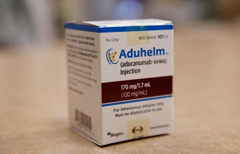 Aduhelm, Biogen's controversial recently approved drug for early Alzheimer's disease, is seen at Butler Hospital, one of the clinical research sites in Providence, Rhode Island, U.S. June 16, 2021. Jessica Rinaldi/Pool via REUTERS.
