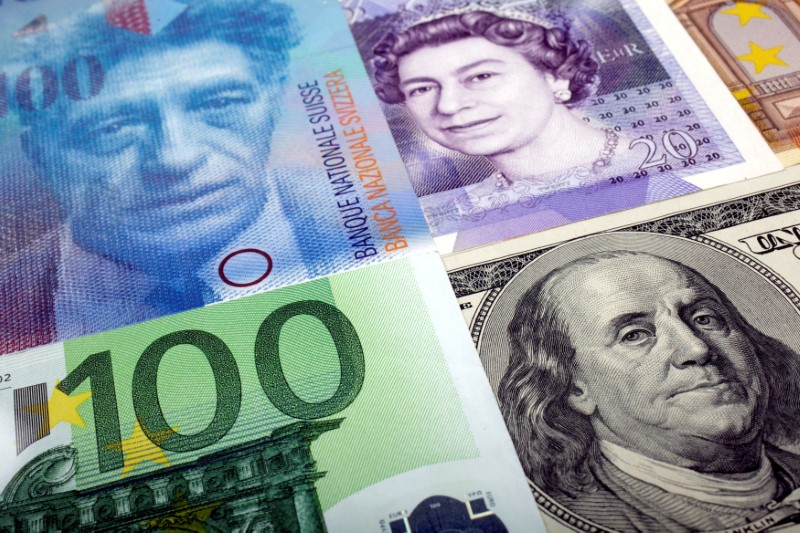 A picture illustration of  U.S. dollar, Swiss Franc, British pound and Euro bank notes, taken in Warsaw January 26, 2011. REUTERS/Kacper Pempel
