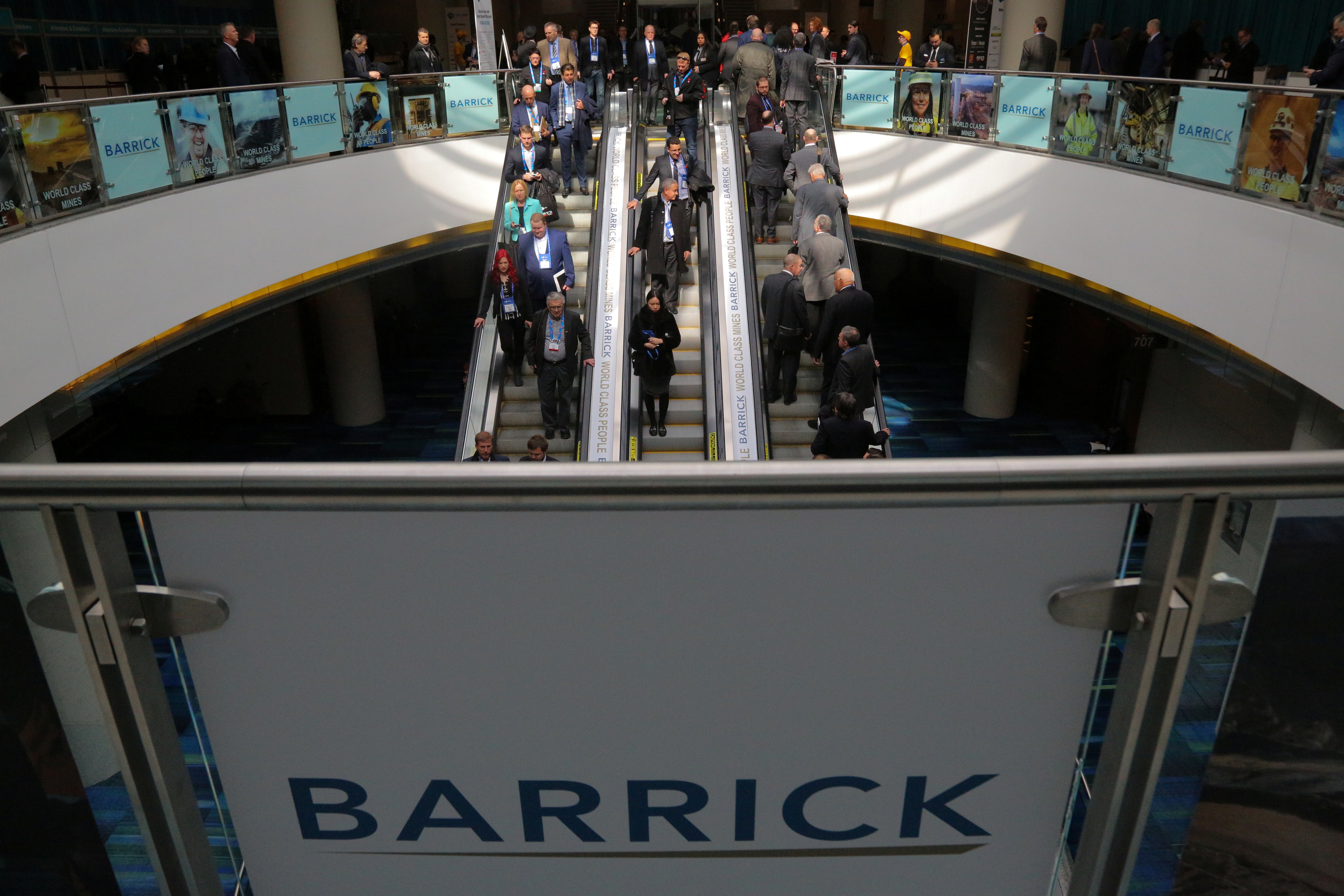The logo of sponsor Barrick Gold Corporation is seen as visitors arrive at the Prospectors and Developers Association of Canada (PDAC) annual convention in Toronto, Ontario, Canada March 4, 2019. REUTERS/Chris Helgren