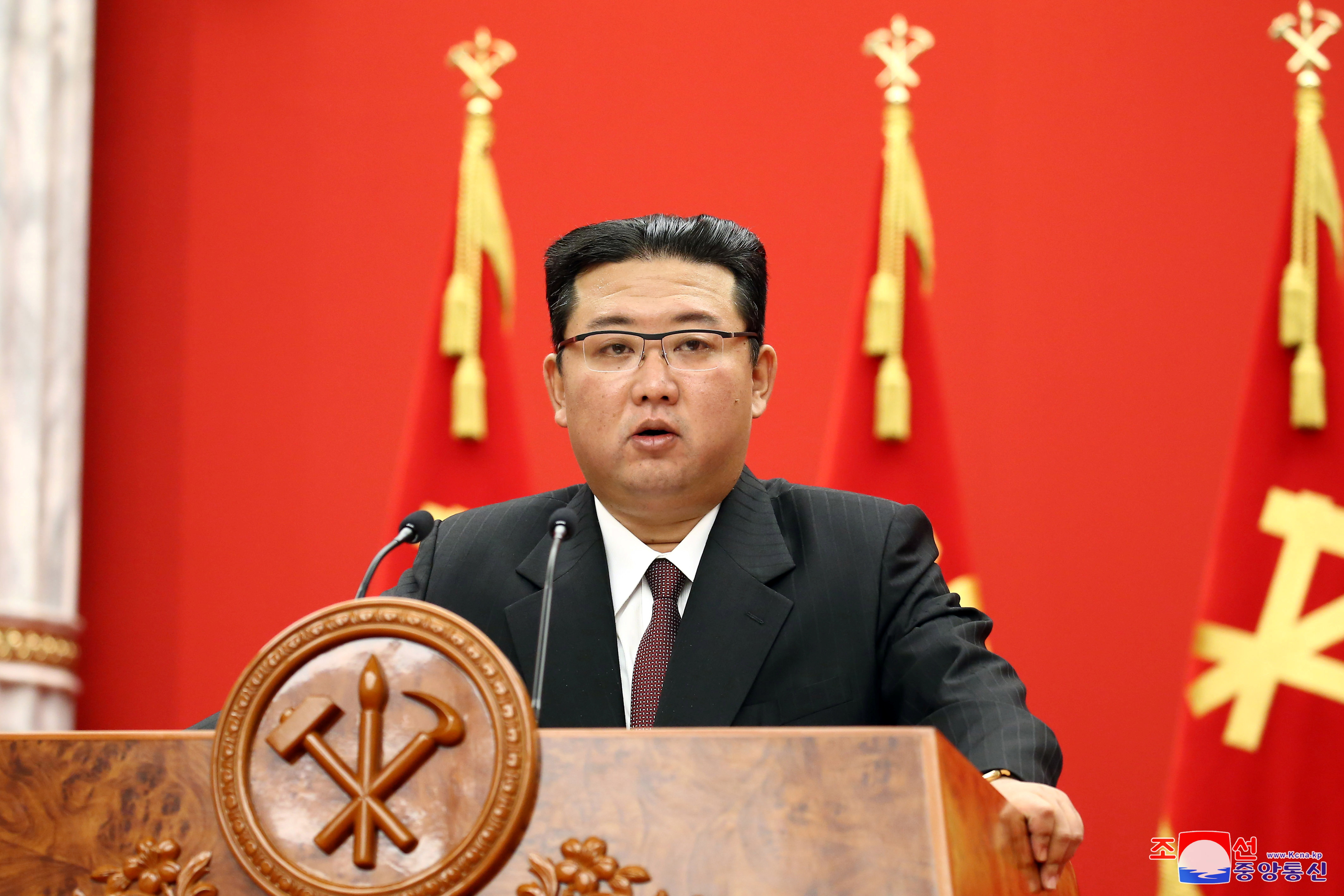 North Korean leader Kim Jong Un speaks during an event celebrating the 76th anniversary of the founding of the ruling Workers' Party of Korea (WPK) in Pyongyang, North Korea, in this undated photo released on October 11, 2021 by North Korea's Korean Central News Agency (KCNA).  KCNA/via REUTERS.