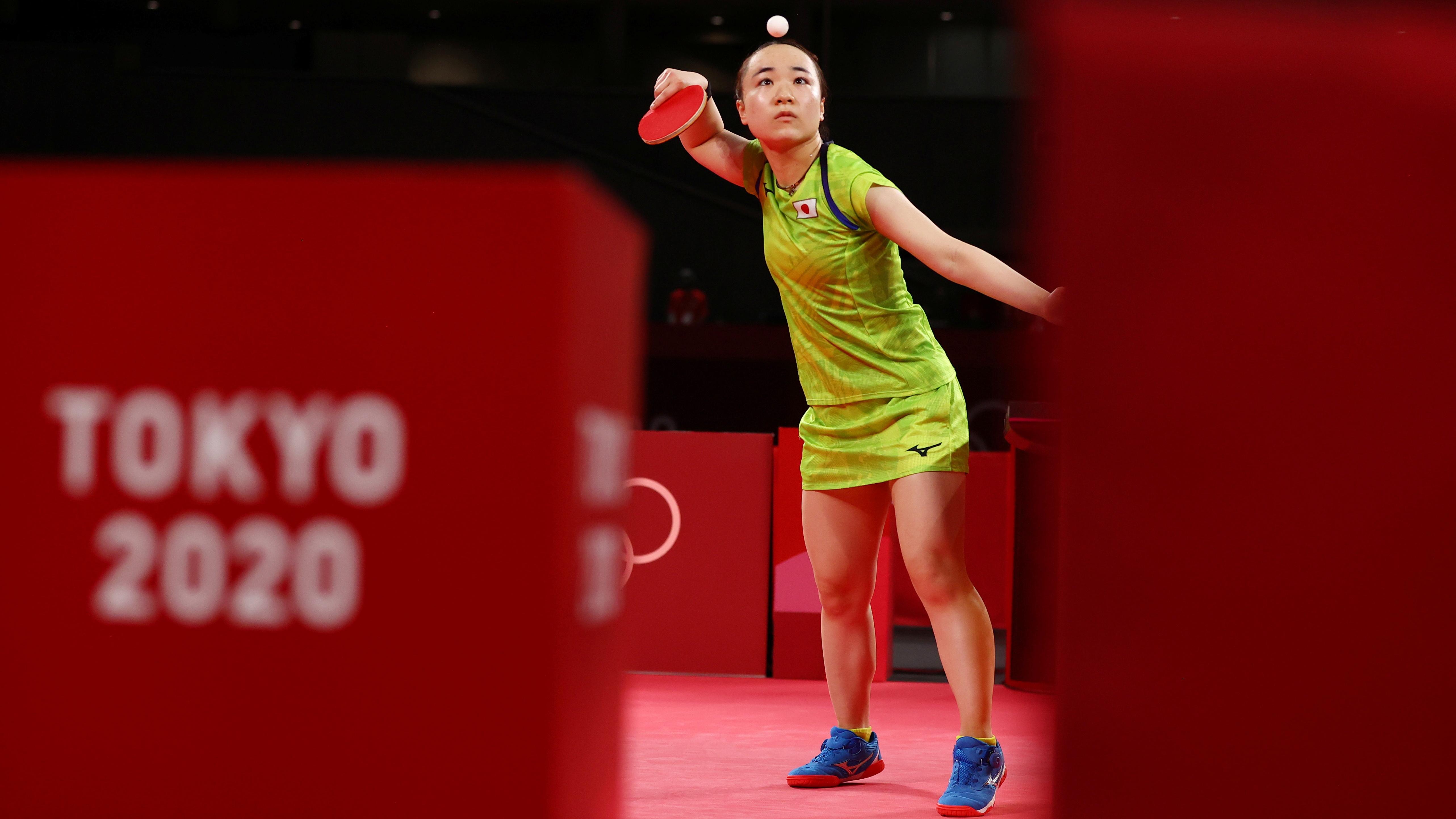 Tokyo 2020 Olympics - Table Tennis - Women's Singles - Semifinal - Tokyo Metropolitan Gymnasium - Tokyo, Japan - July 29, 2021. Mima Ito of Japan in action against Sun Yingsha of China REUTERS/Thomas Peter