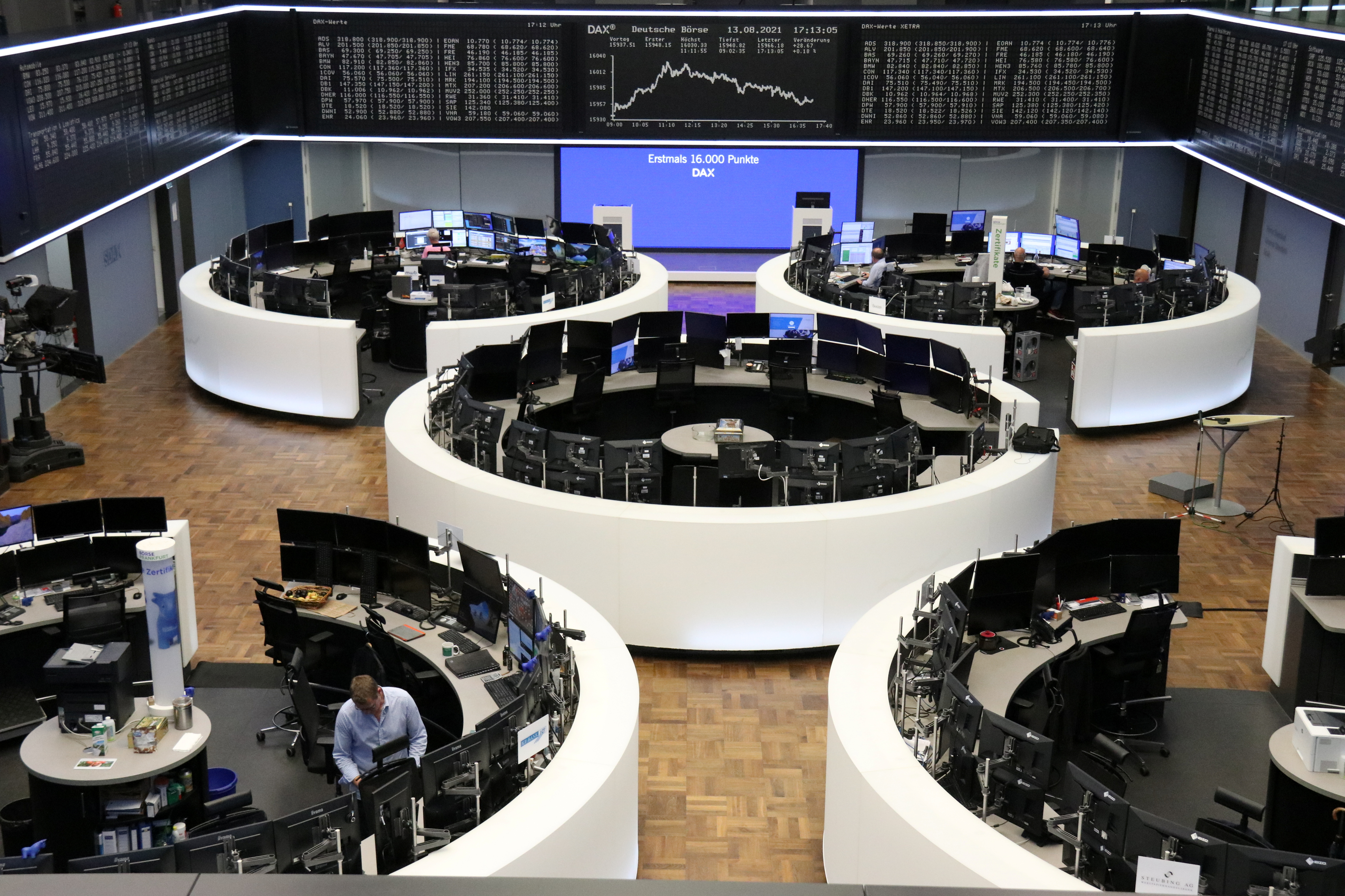 The German share price index DAX graph is pictured at the stock exchange in Frankfurt, Germany August 13, 2021. REUTERS/Staff