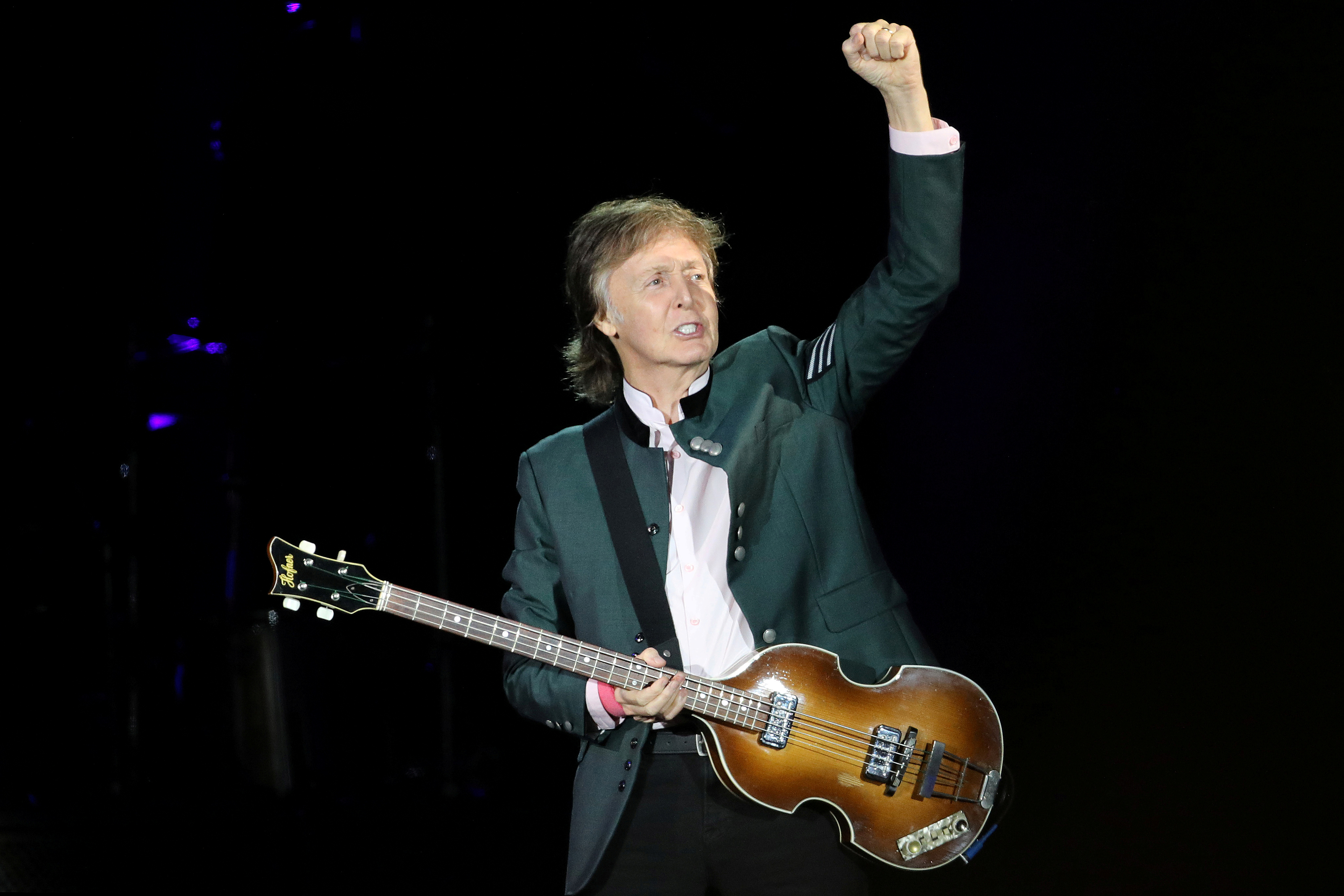 British musician Paul McCartney performs during the