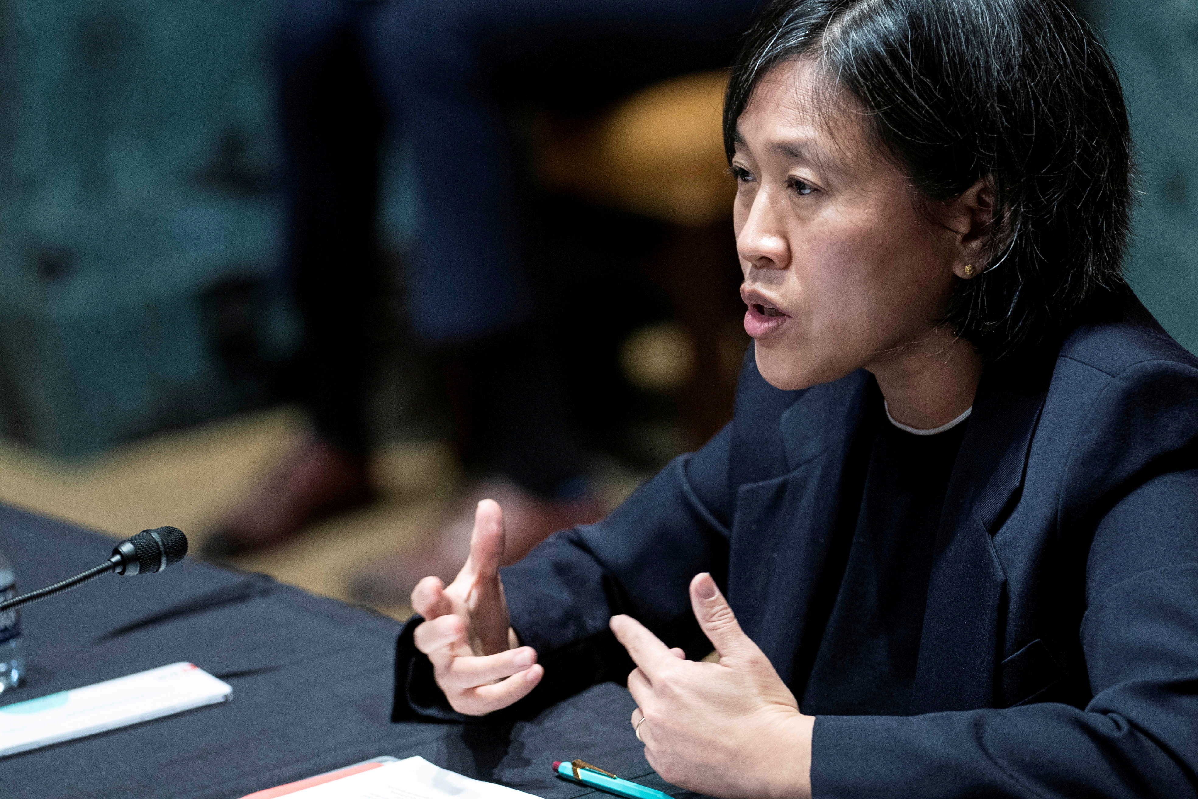 U.S. Trade Representative Katherine Tai testifies before a Senate Appropriations subcommittee during a hearing on Capitol Hill, in Washington, U.S., April 28, 2021. Sarah Silbiger/Pool via REUTERS/File Photo