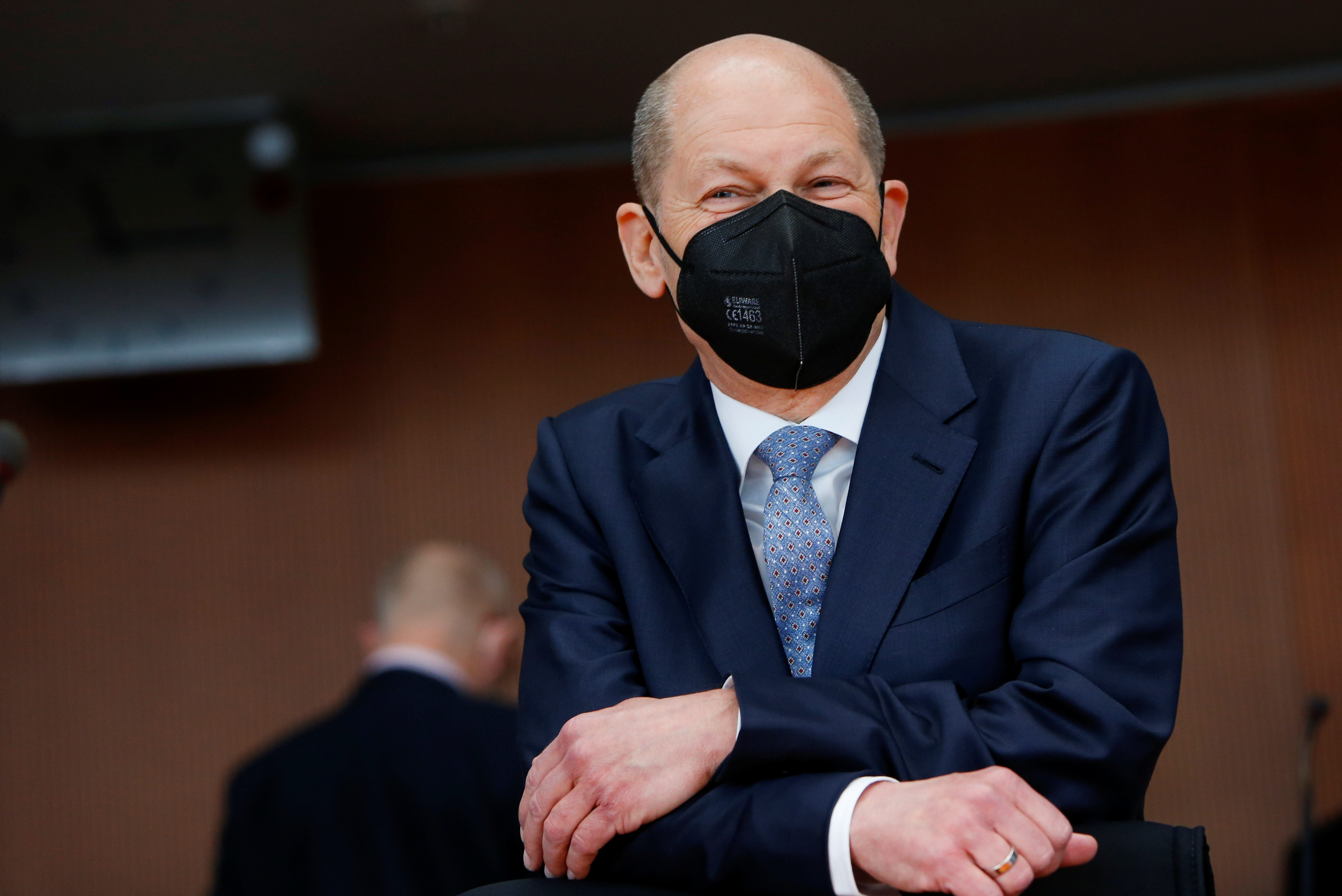 German Finance Minister Olaf Scholz looks on as he arrives to testify before a parliament committee investigating Wirecard, in Berlin, Germany April 22, 2021. REUTERS/Michele Tantussi/Pool
